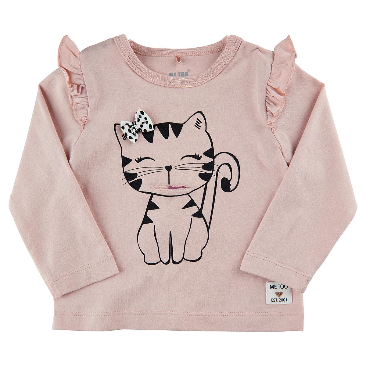 METOO by Minymo Baby Girl Langarmshirt Katze rose