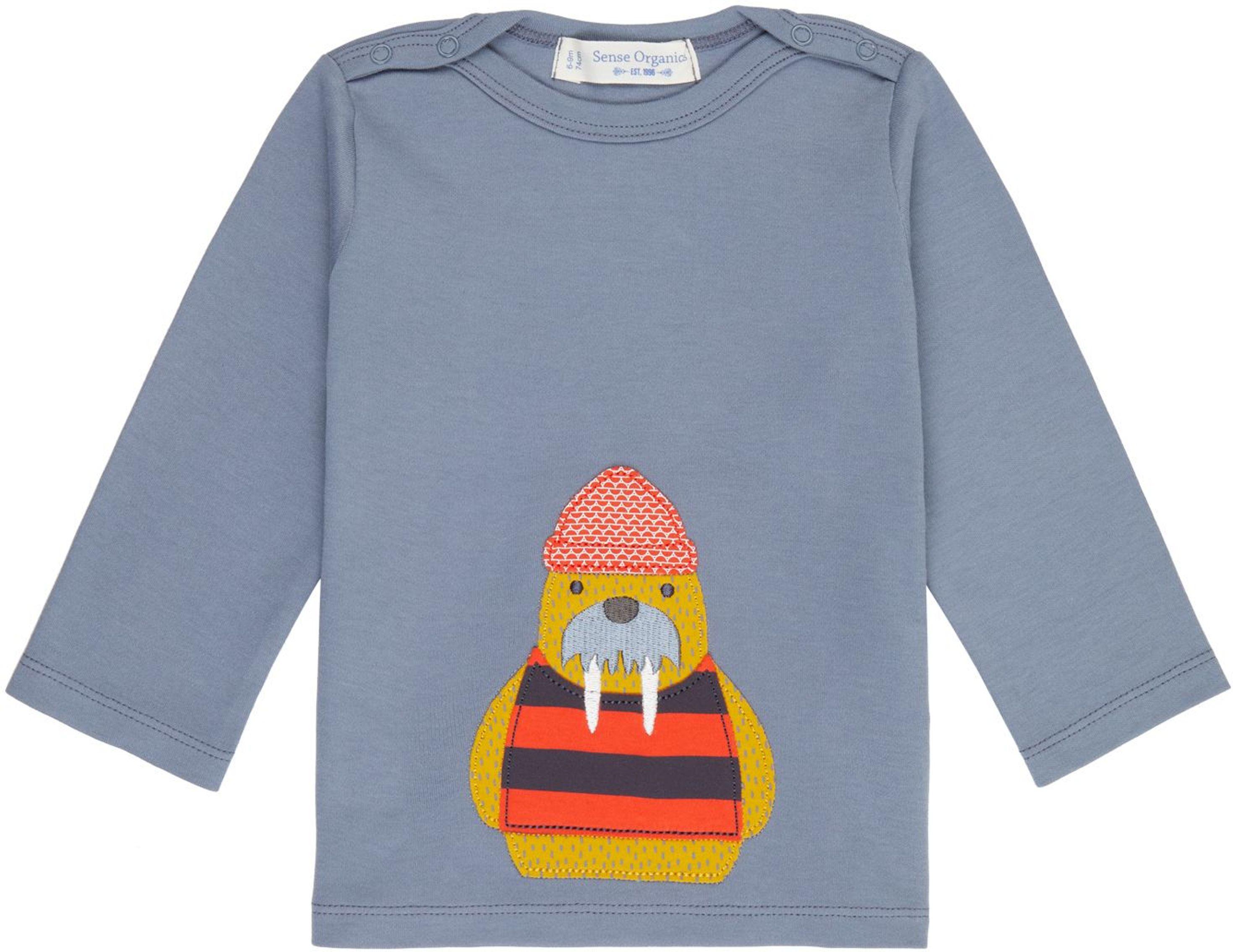 Sense Organic LUNA Baby Shirt L/S stone blue/walrus