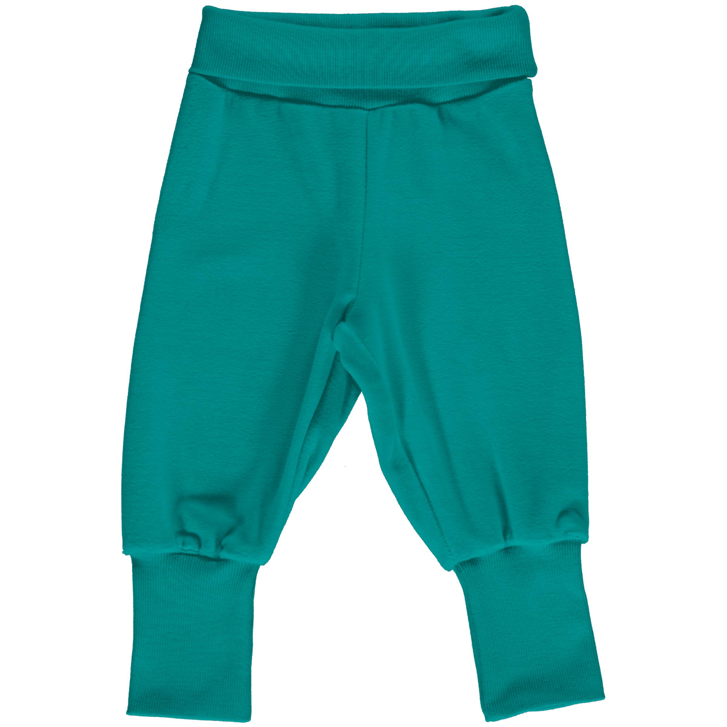 Maxomorra Baby Rib Pants Velour LAGOON 050/056