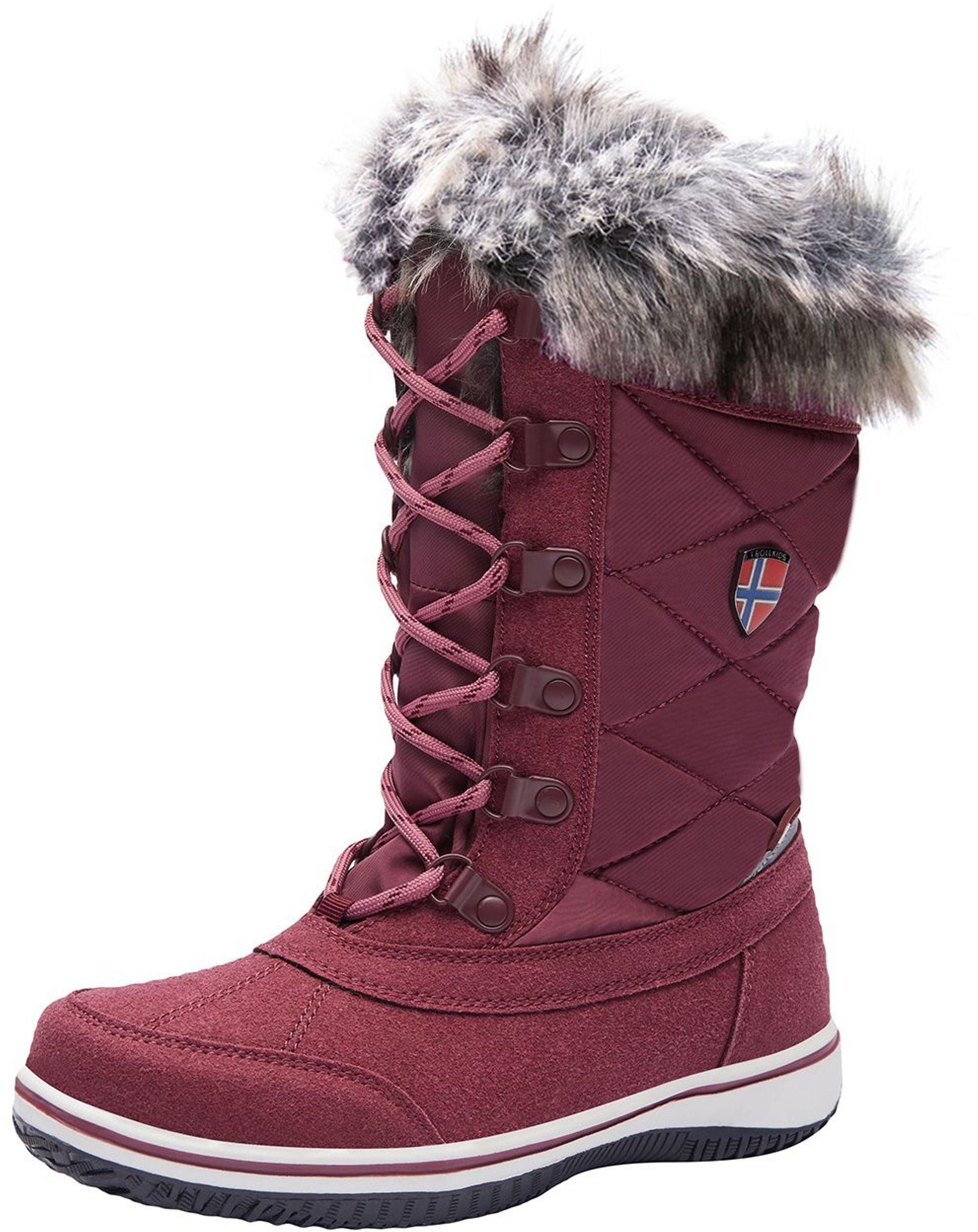 Trollkids Girls Holmenkollen Snow Boots Maroon Red
