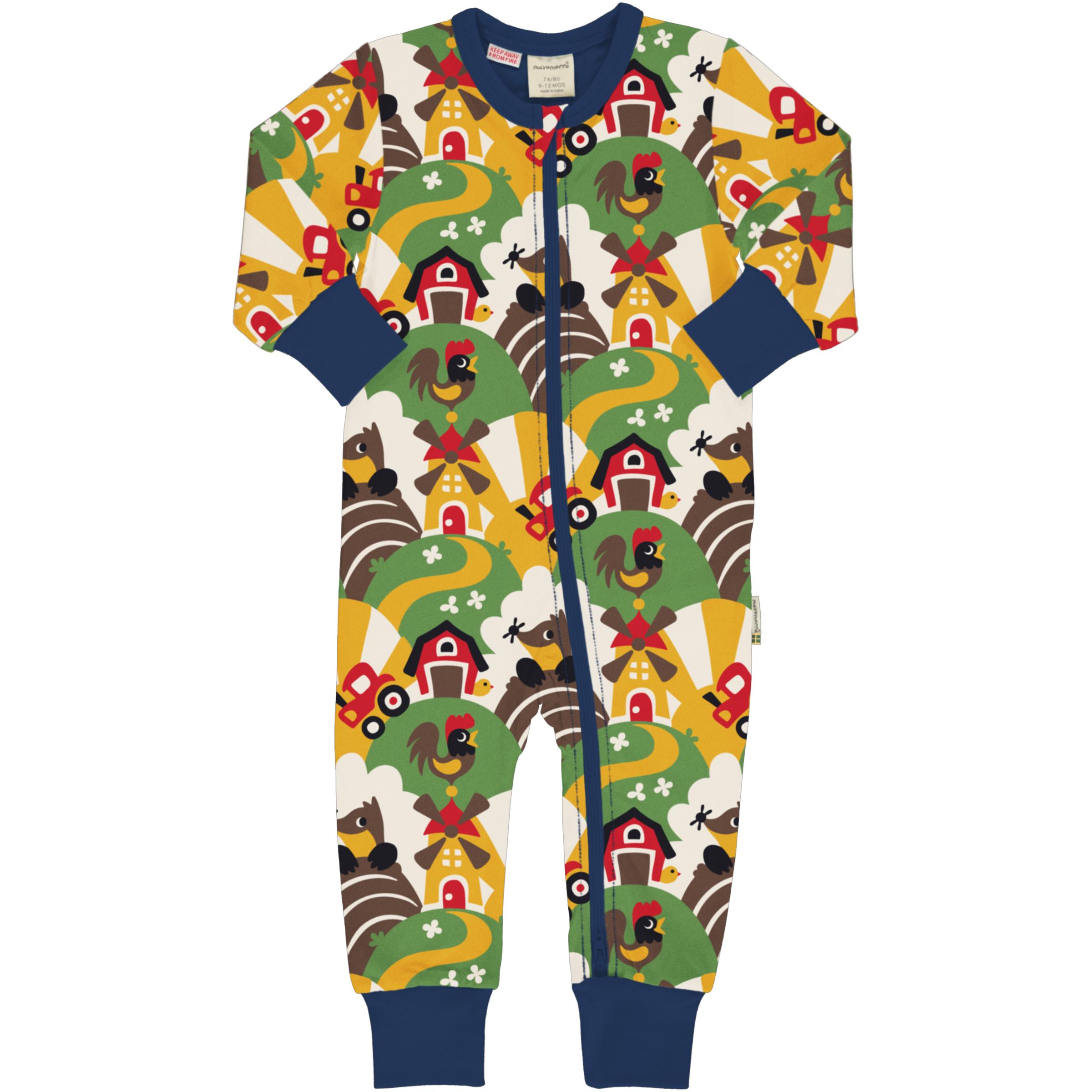 Maxomorra Baby Schlafanzug Einteiler Lang FARM 050/056