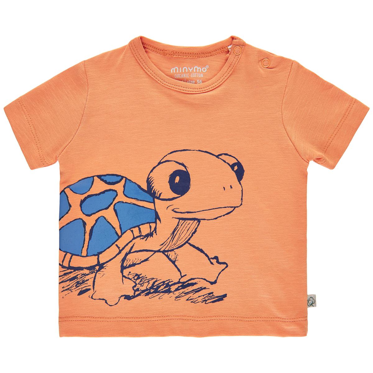 Minymo Baby Boy T-shirt Turtle GOTS Certified Copper Tan