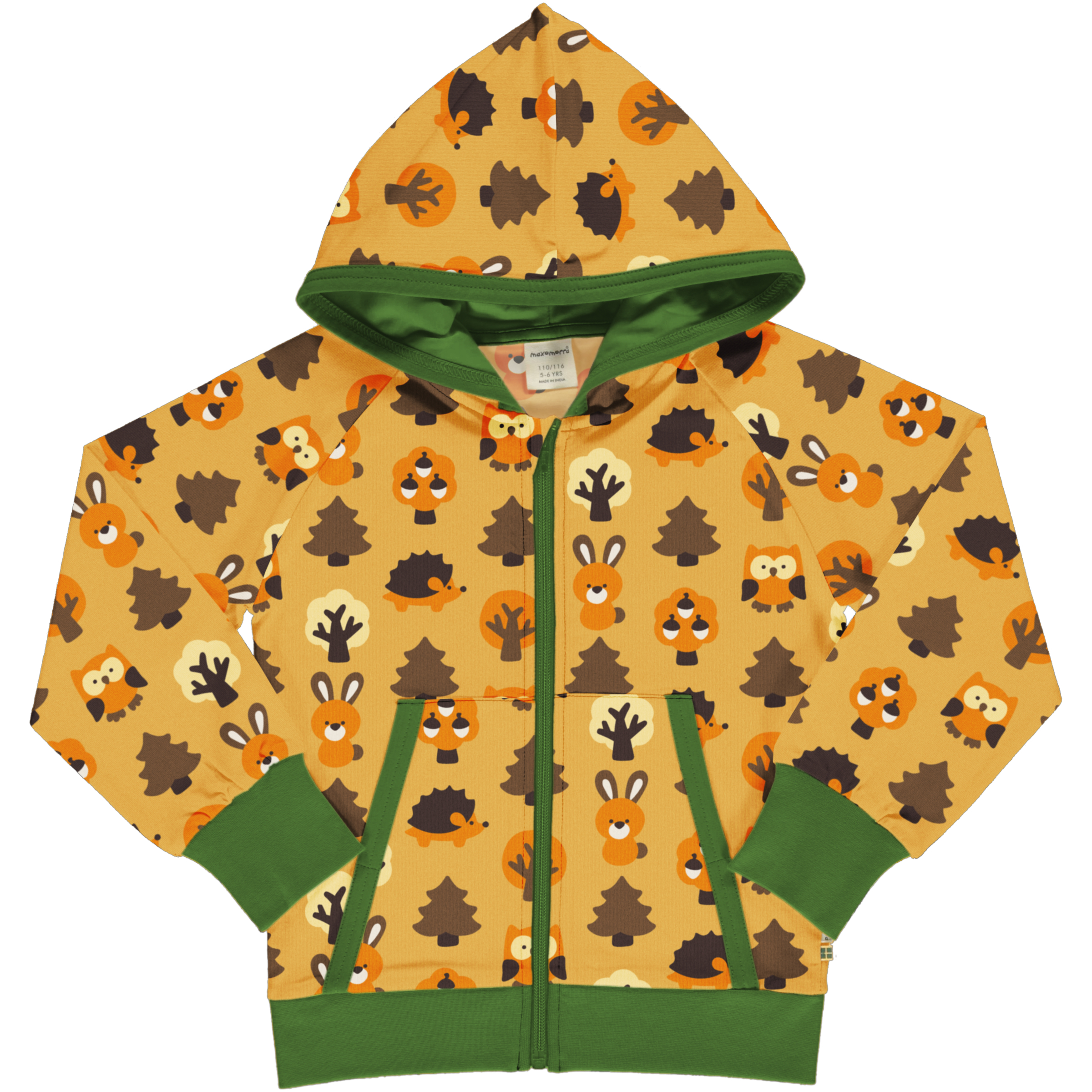 Maxomorra Sweatjacke Kapuze YELLOW FORREST