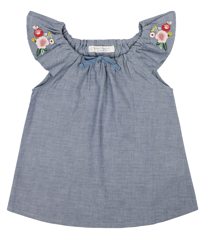 Sense Organic MAILA Butterly Top Kurz Blue Flower Embroidery