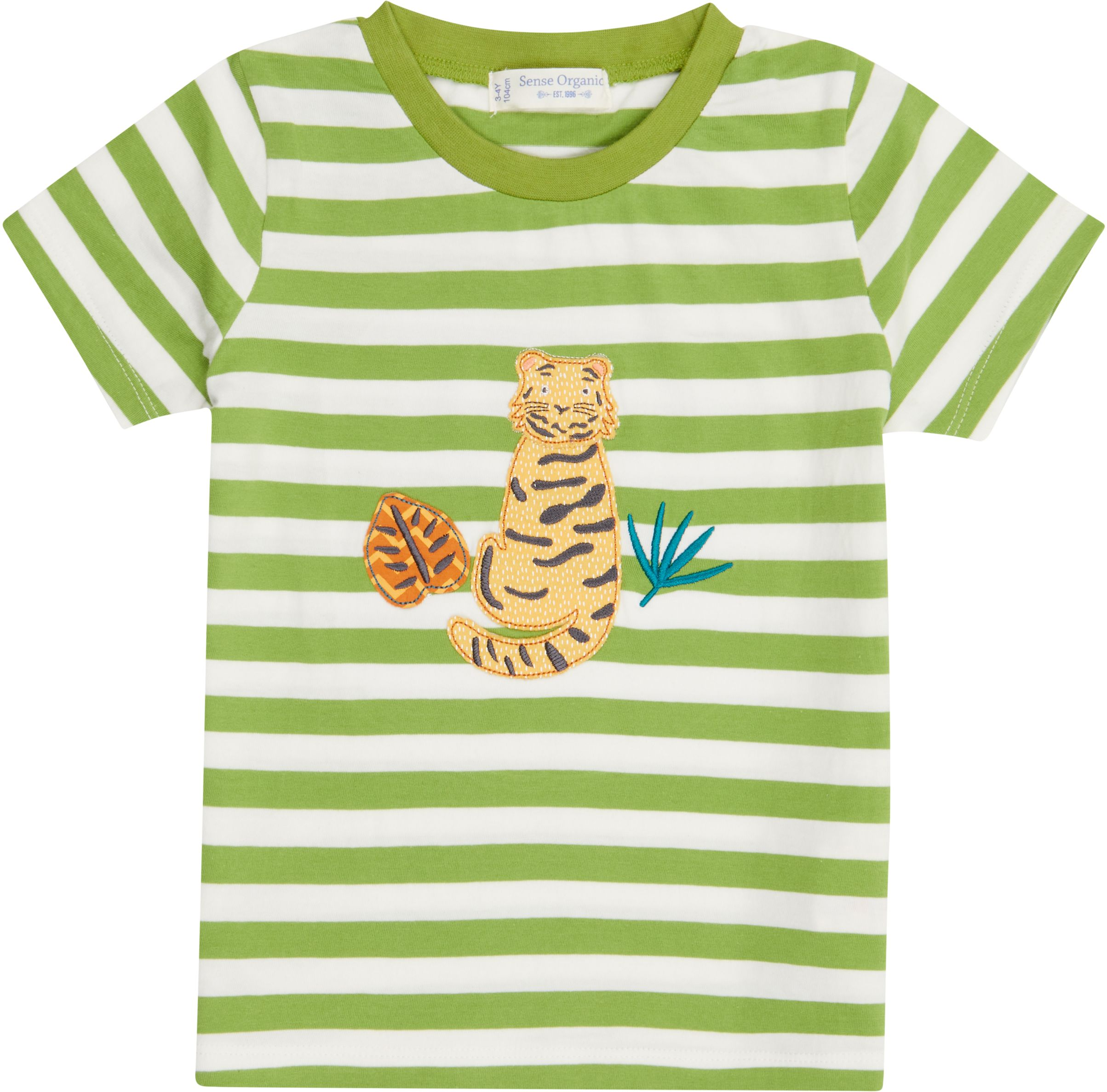 Sense Organic IBON Shirt Kurzarm Green Stripes