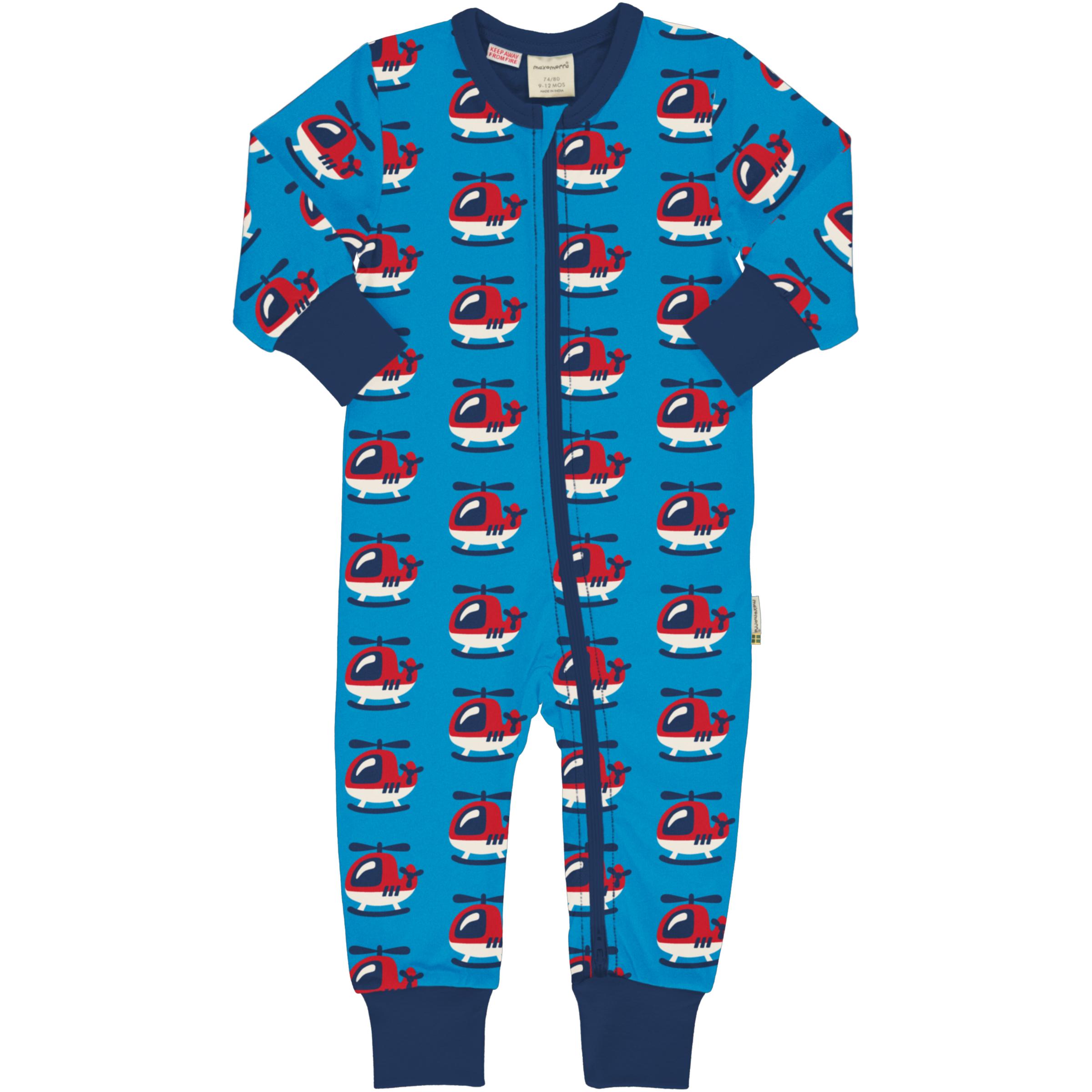 Maxomorra Baby Schlafanzug Einteiler Lang HELICOPTER 074/080