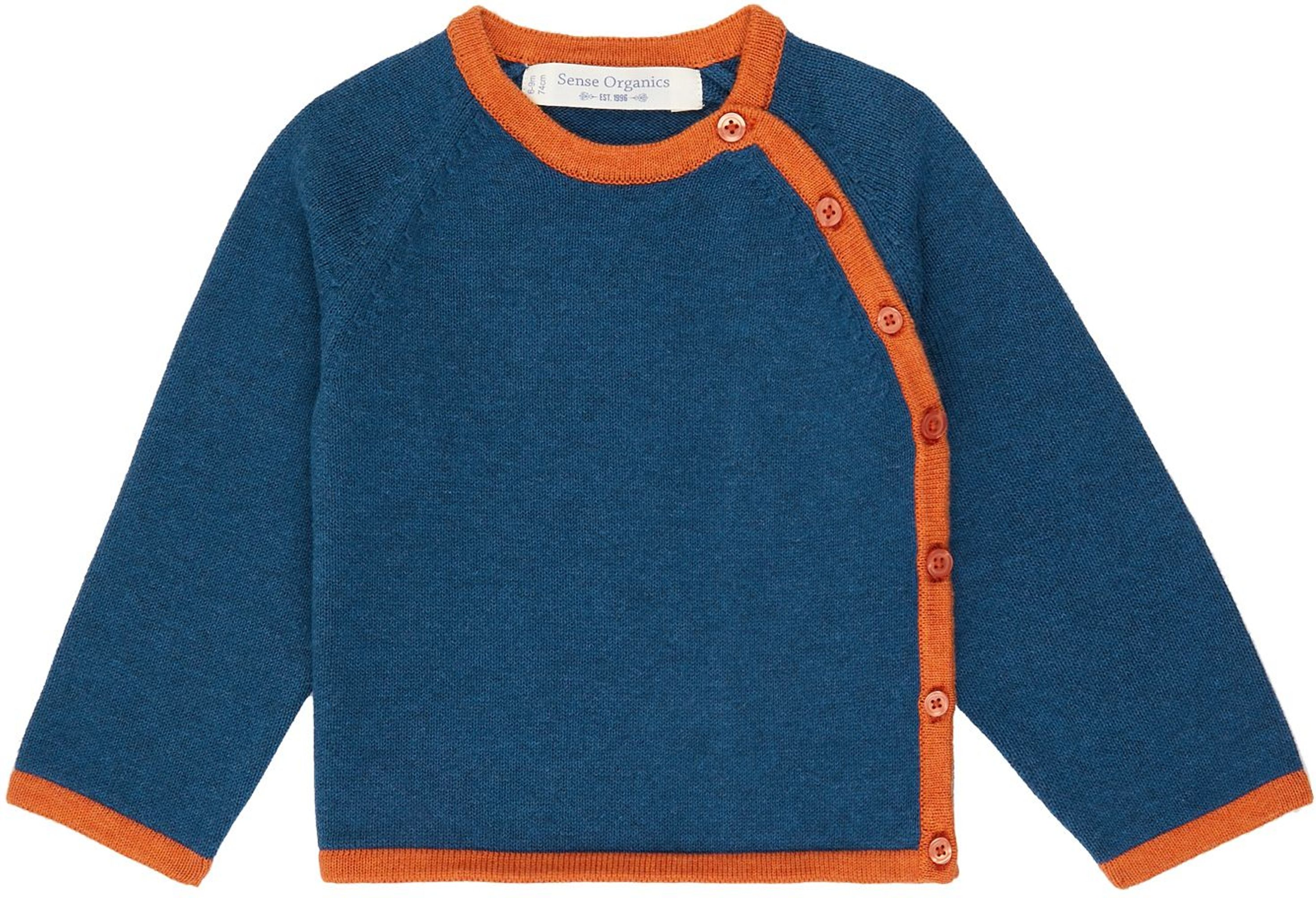 Sense Organic P. PICASSO Baby Knitted Wrap Jacket blue