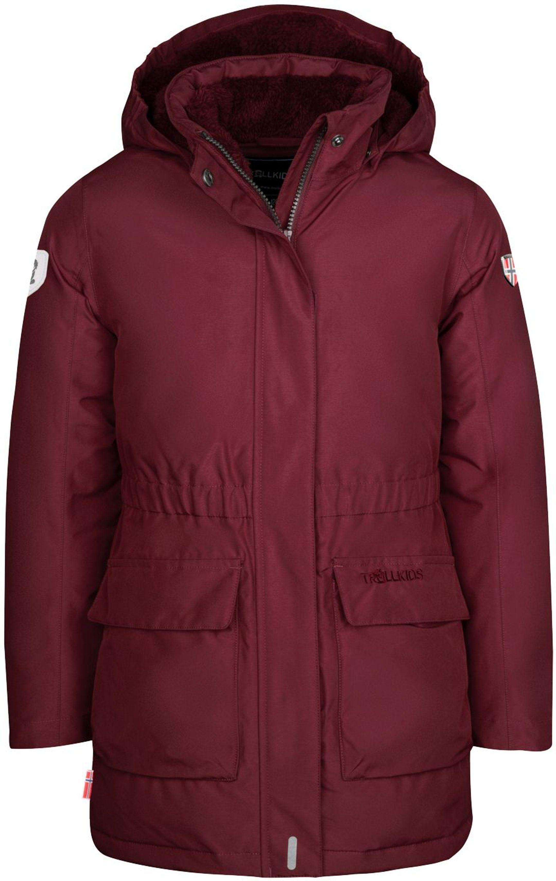Trollkids Girls Alesund Coat Maroon Red