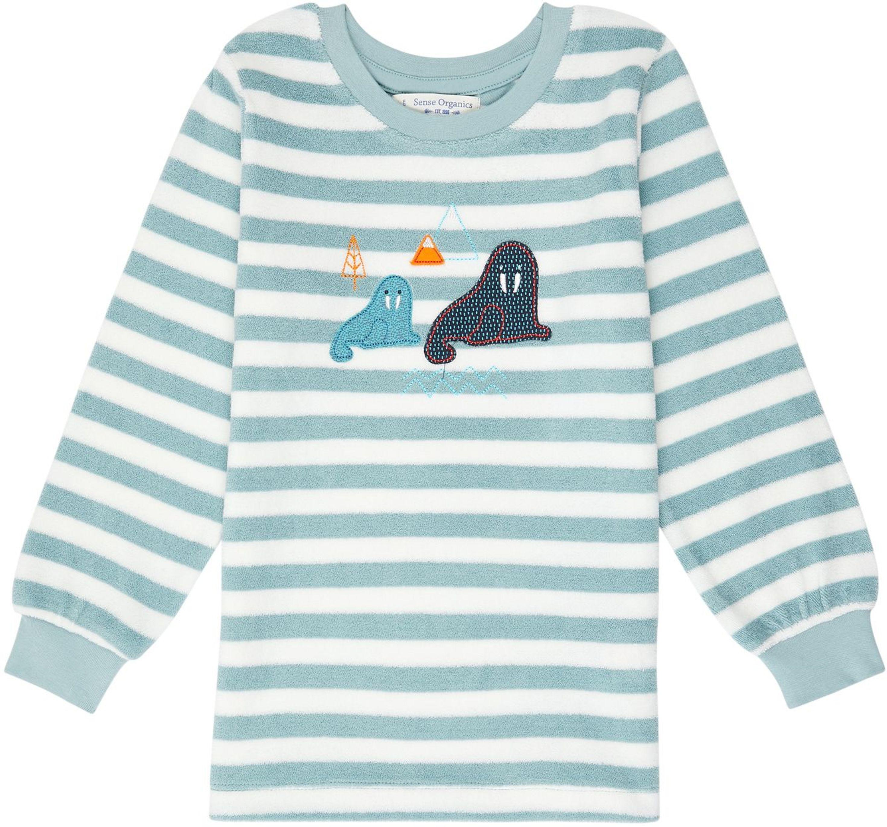 Sense Organic LONG JOHN RETRO Terry Pyjama aqua