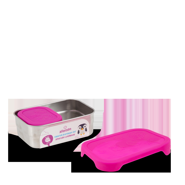 Affenzahn Brotdose Edelstahl pink