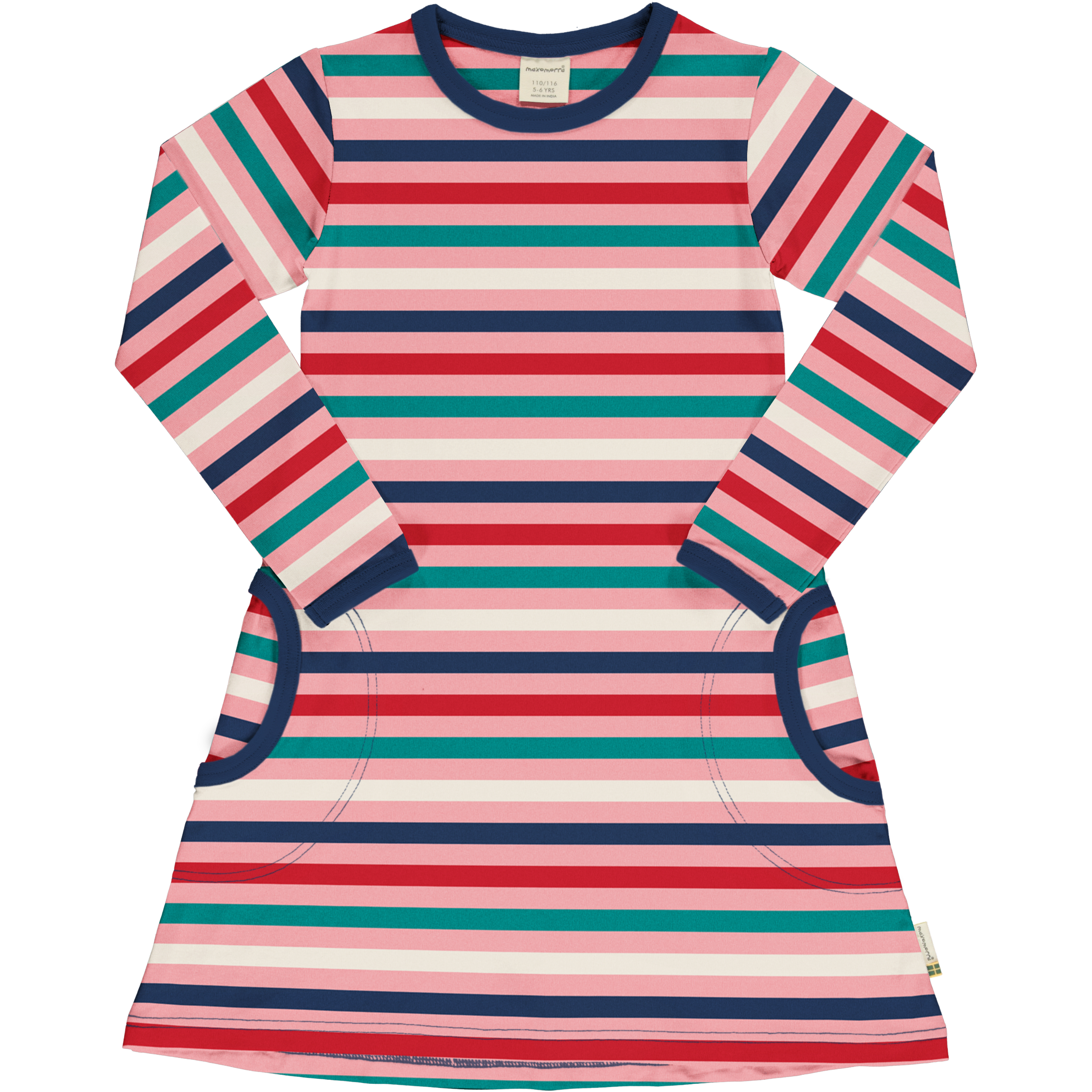 Maxomorra Girl Kleid Langarm STRIPE BLOSSOM