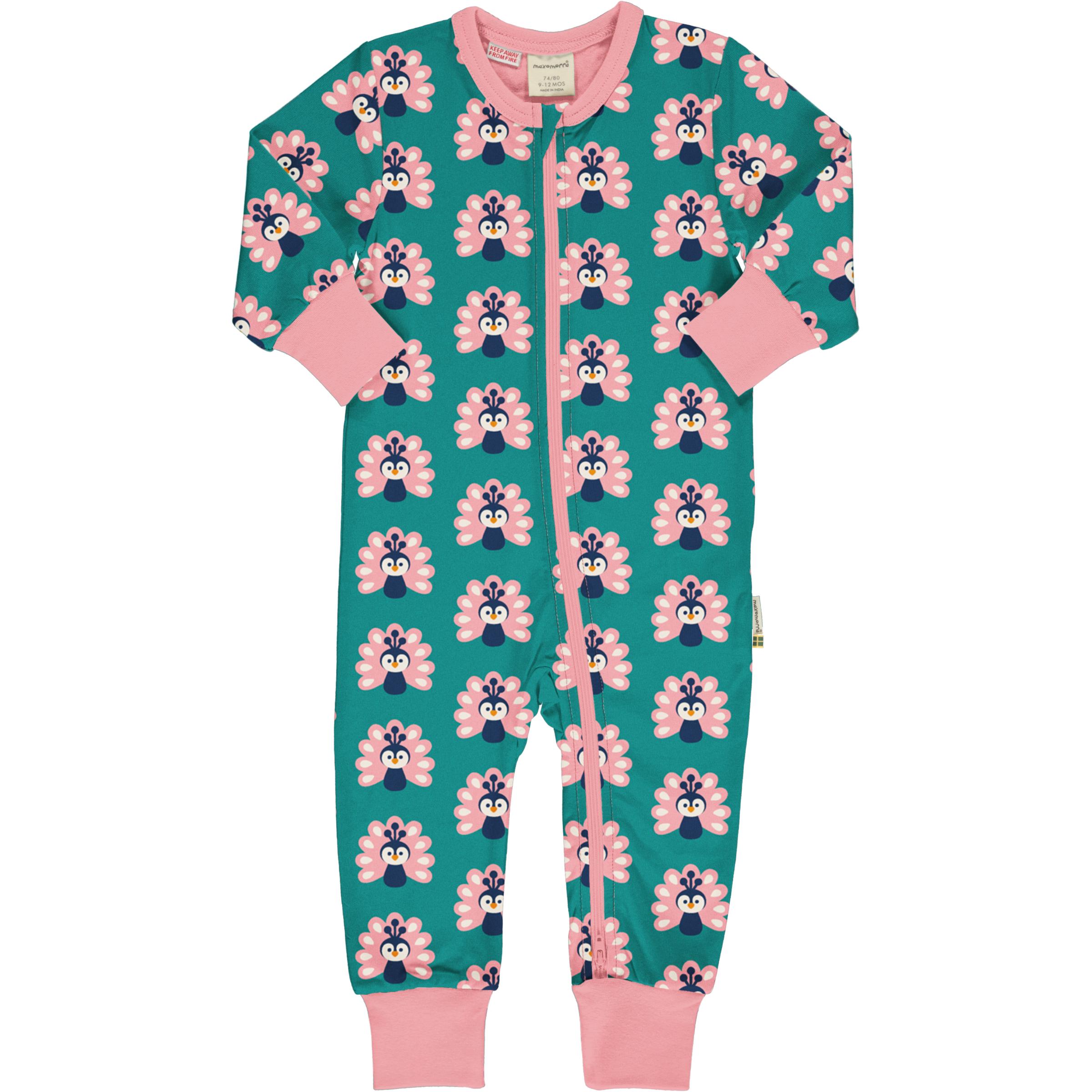 Maxomorra Baby Schlafanzug Einteiler Lang PEACOCK