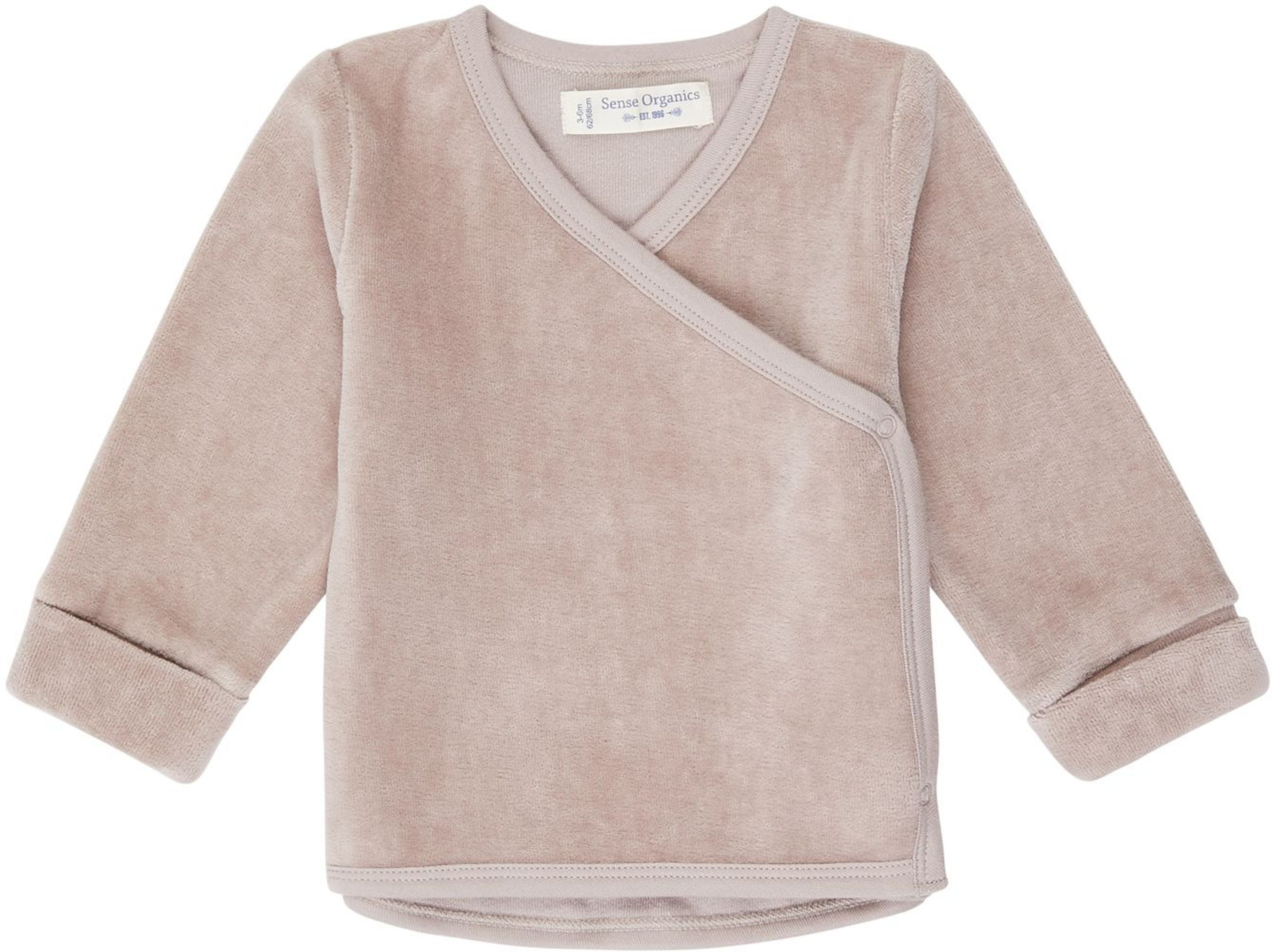 Sense Organic WANDA Baby Velour Wrap Jacket taupe
