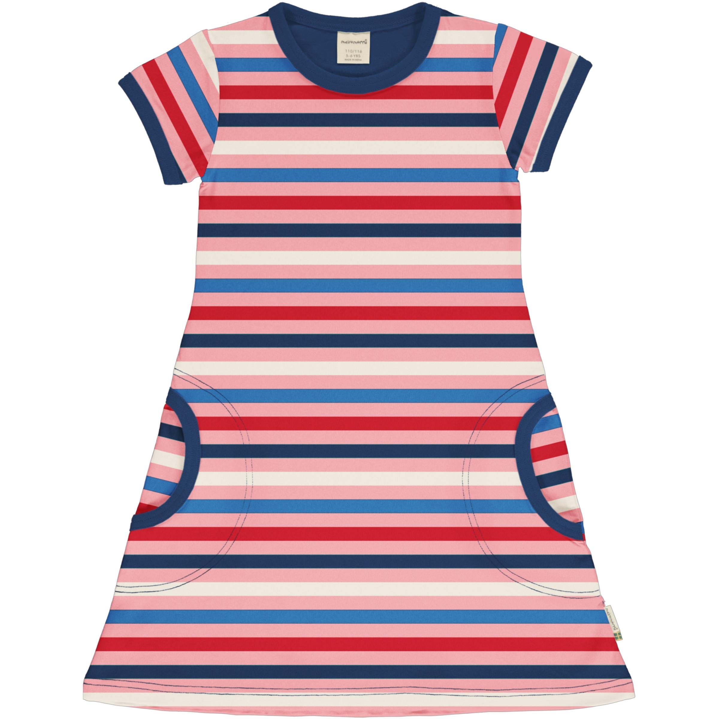 Maxomorra Girl Kleid kurzarm Stripe BLOSSOM 110/116