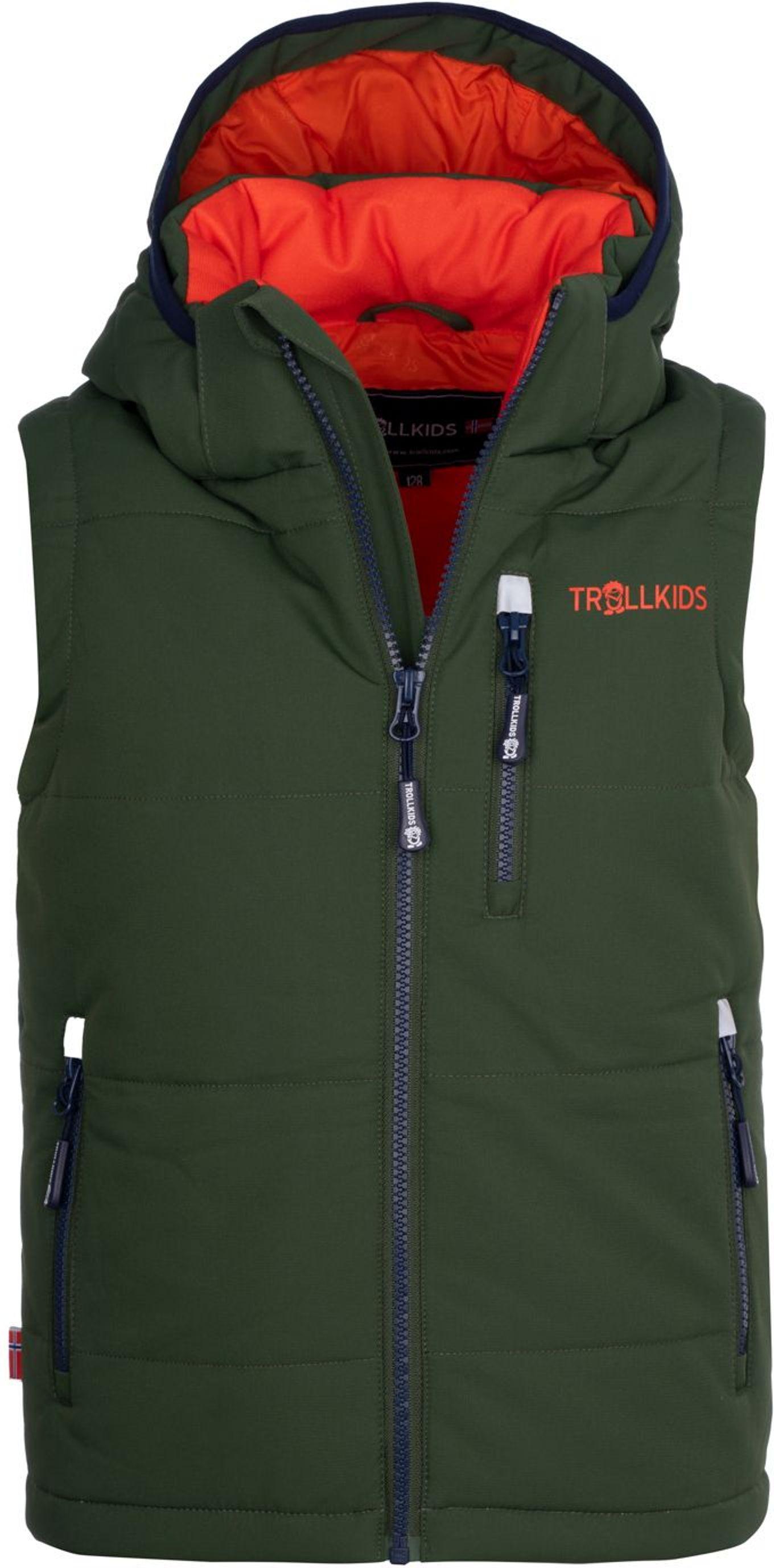 Trollkids Narvik Weste XT Forest Green/Flame Orange