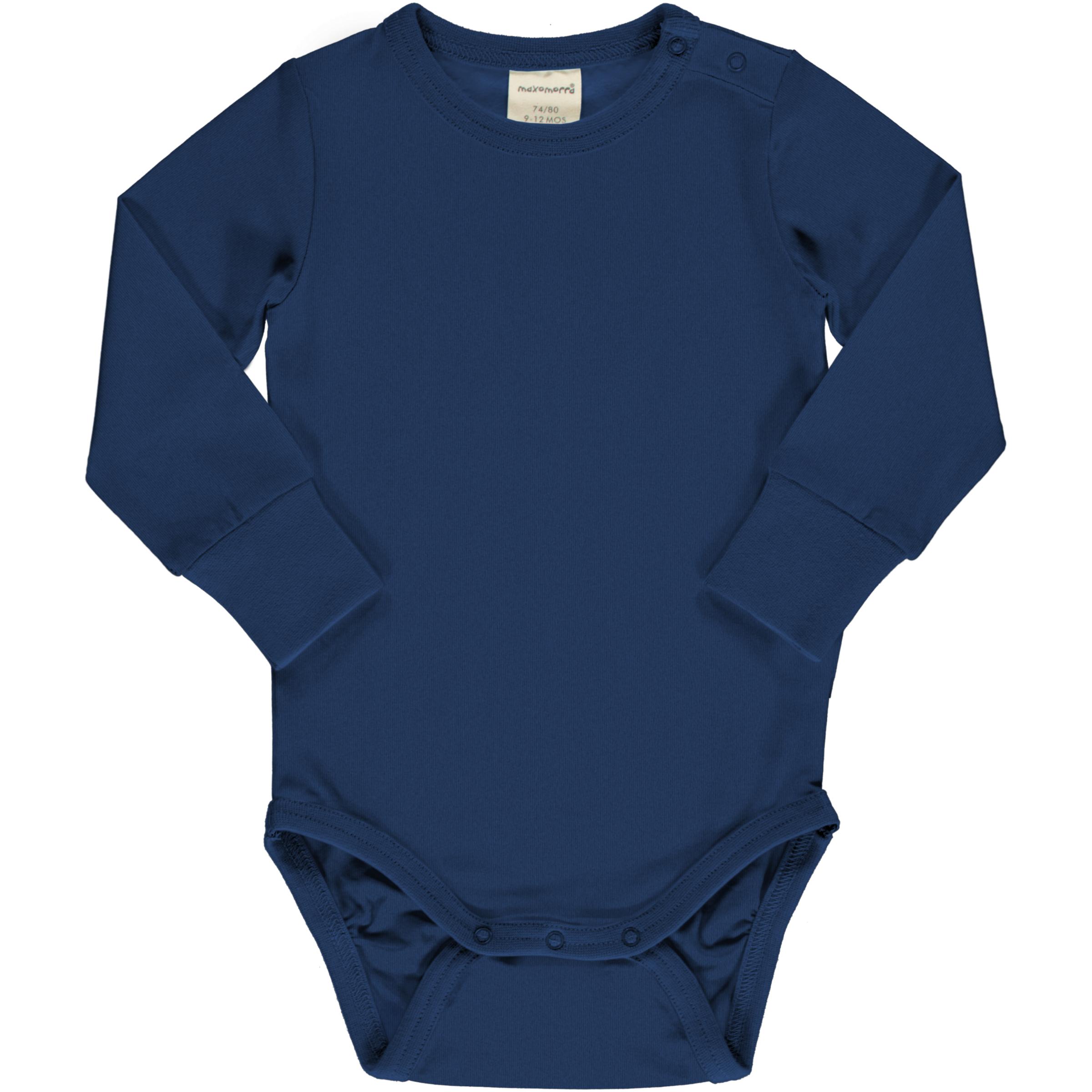 Maxomorra Baby Body Langarm Solid NAVY 050/056