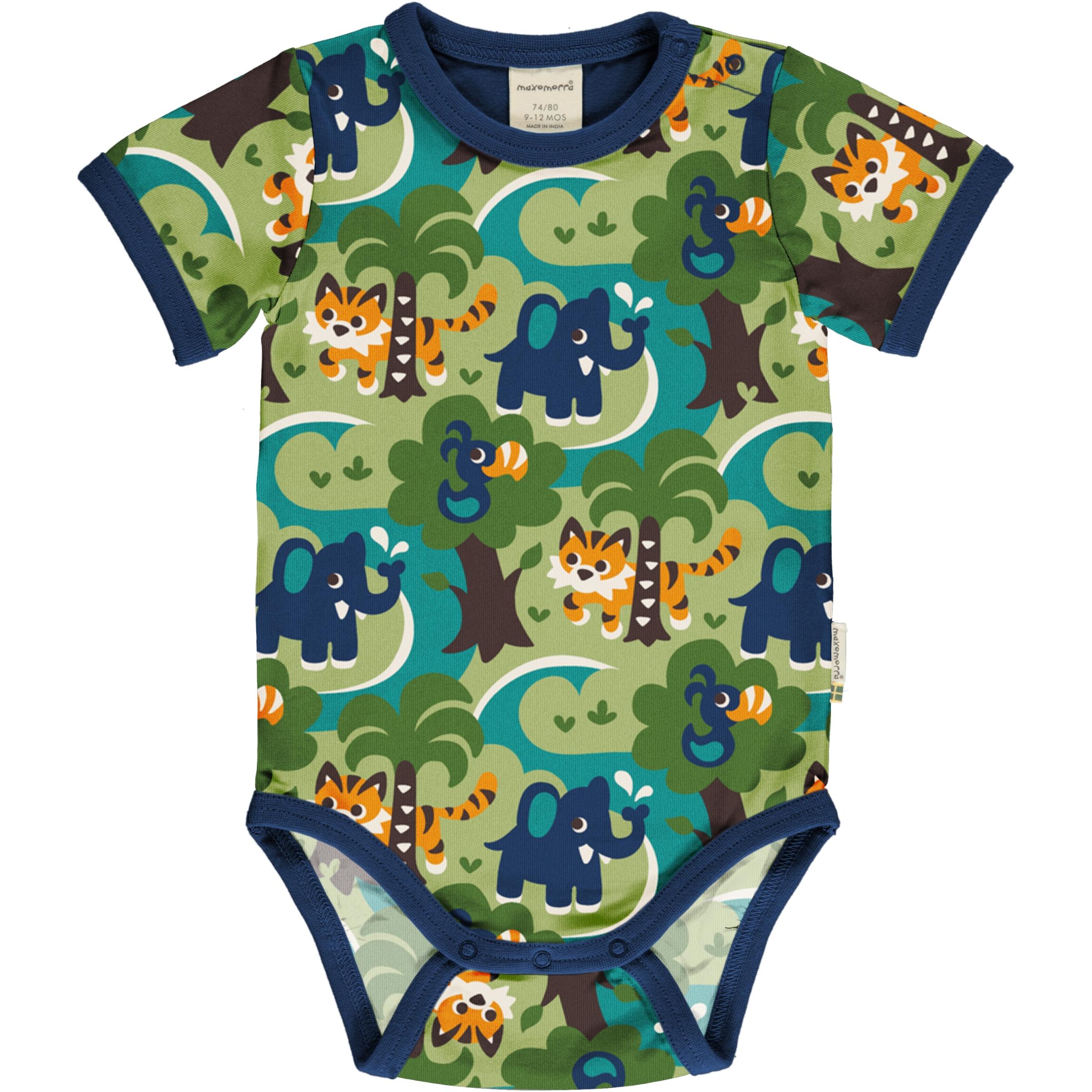 Maxomorra Baby Body kurzarm JUNGLE 74/80