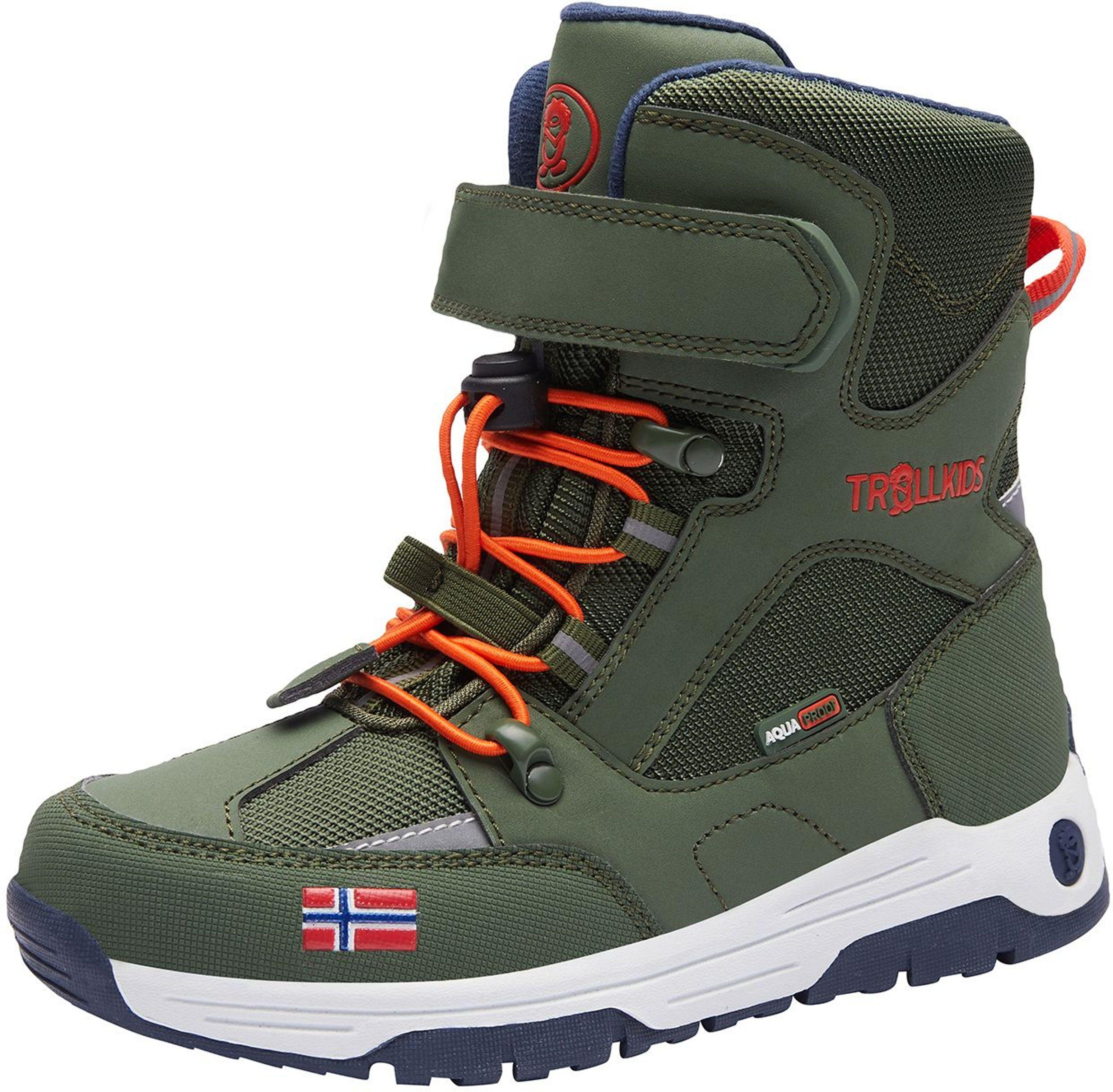 Trollkids Lofoten Winter Boots XT Forest Green/Flame Orange