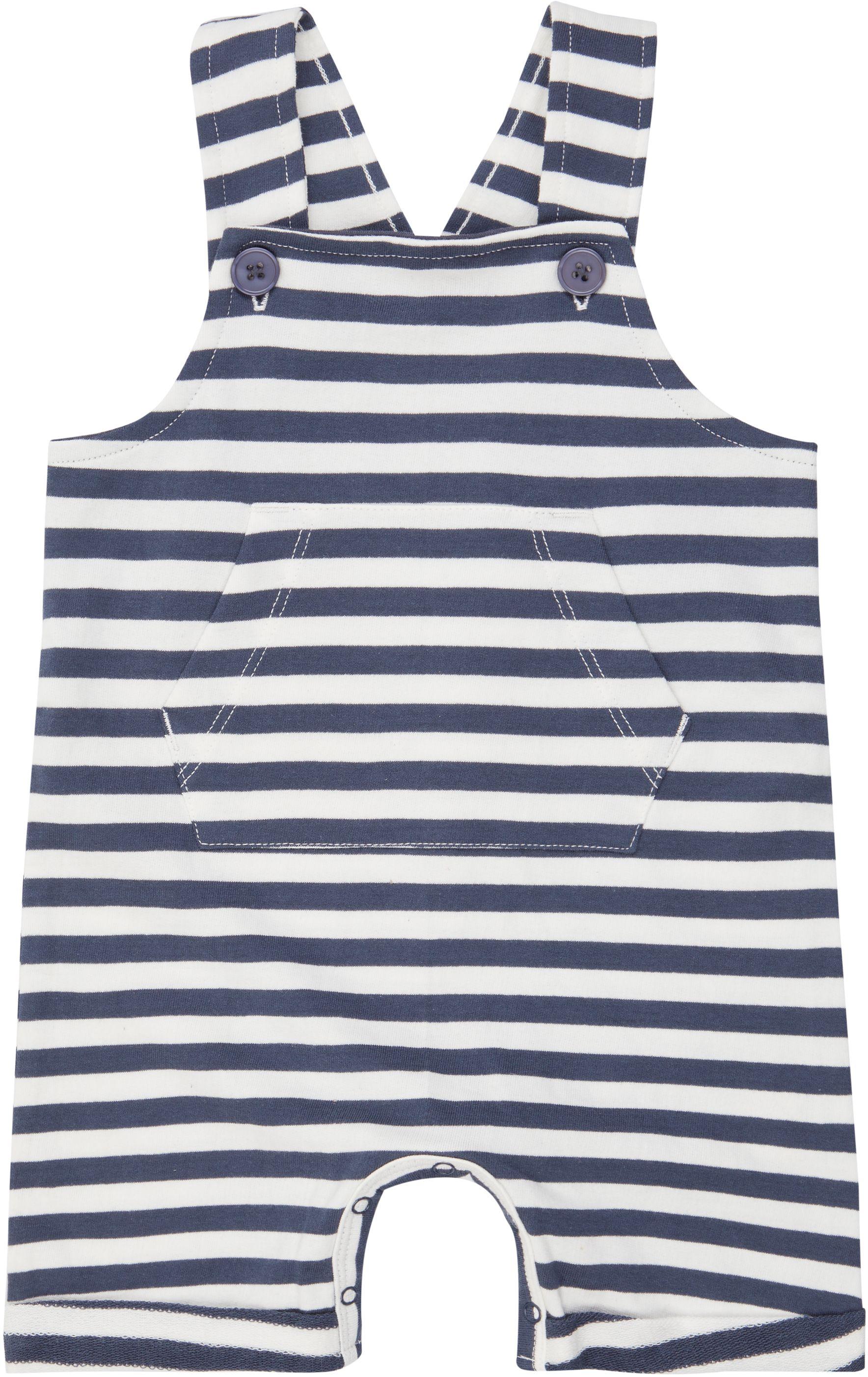 Sense Organic FABIO Baby Short Sweat Dungarees Navy Stripes