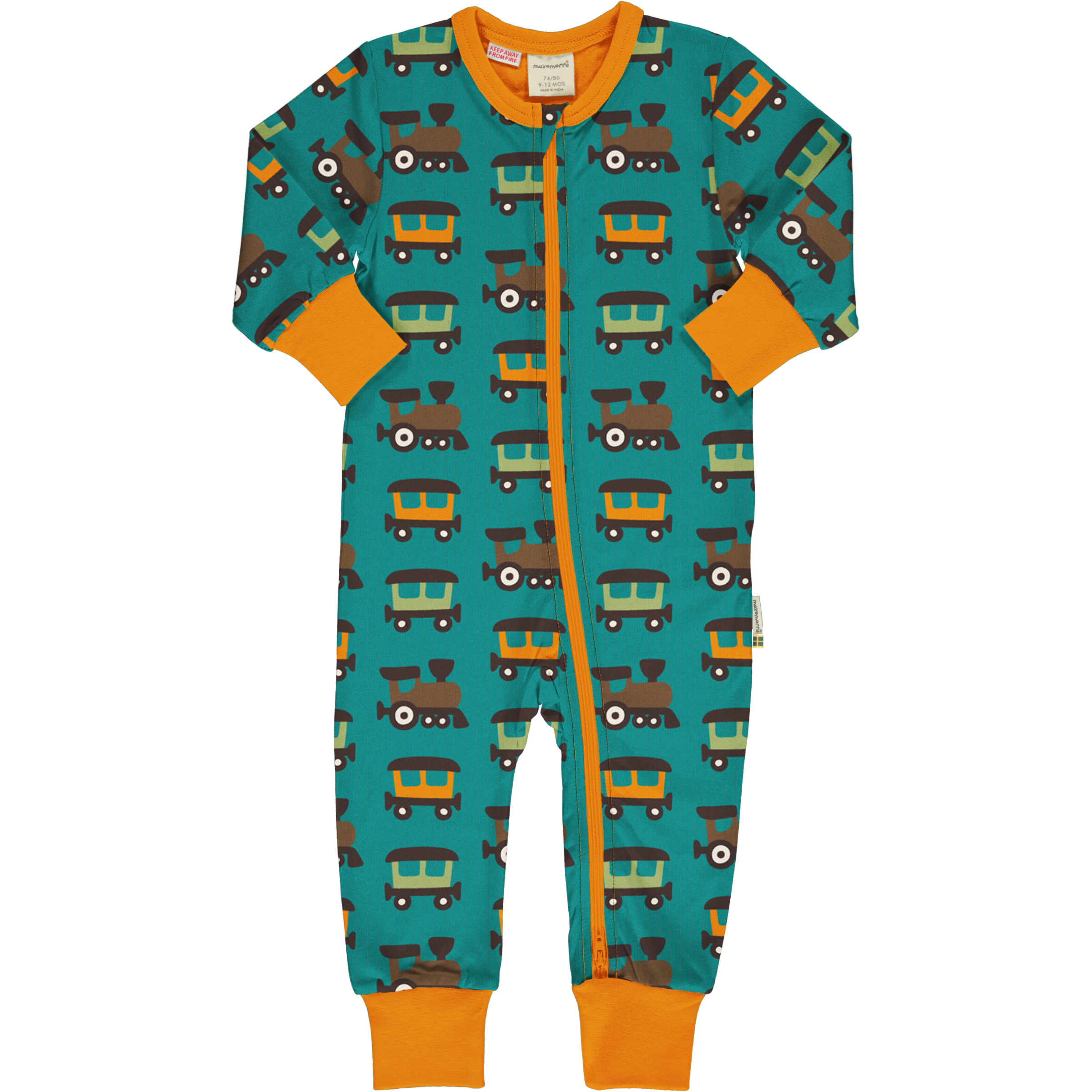 Maxomorra Baby Schlafanzug Einteiler Lang TRAIN