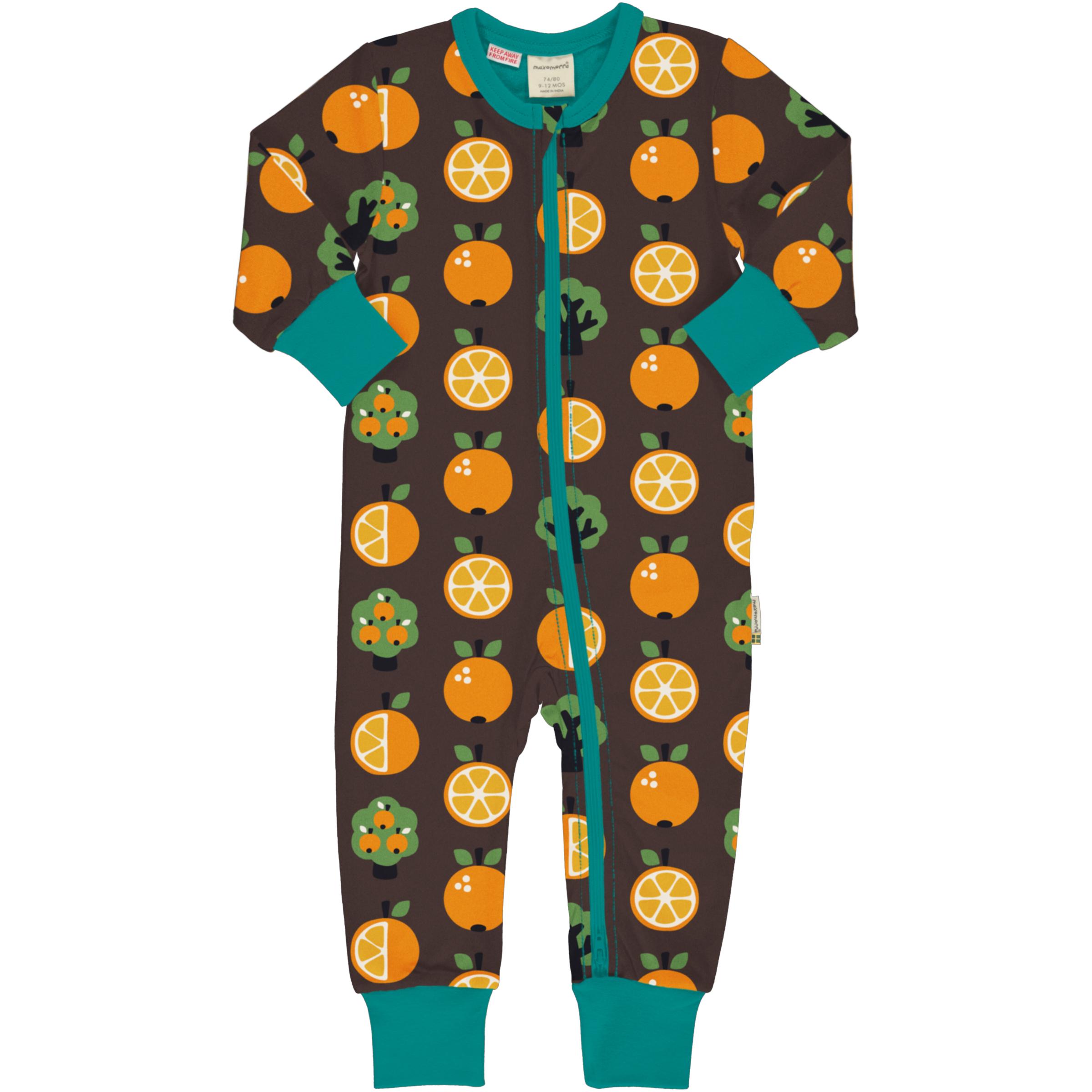 Maxomorra Baby Schlafanzug Einteiler Lang ORANGE 074/080