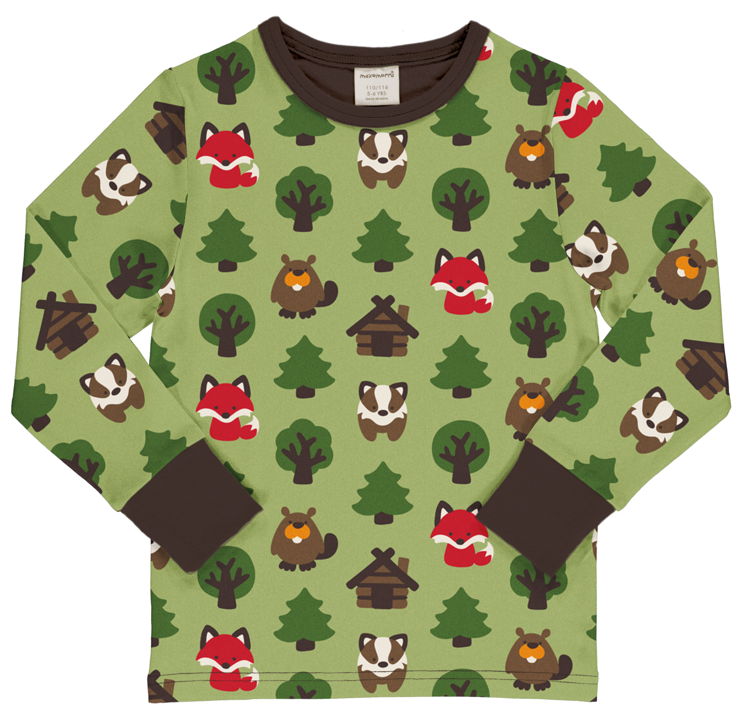 Maxomorra Langarmshirt GREEN FOREST