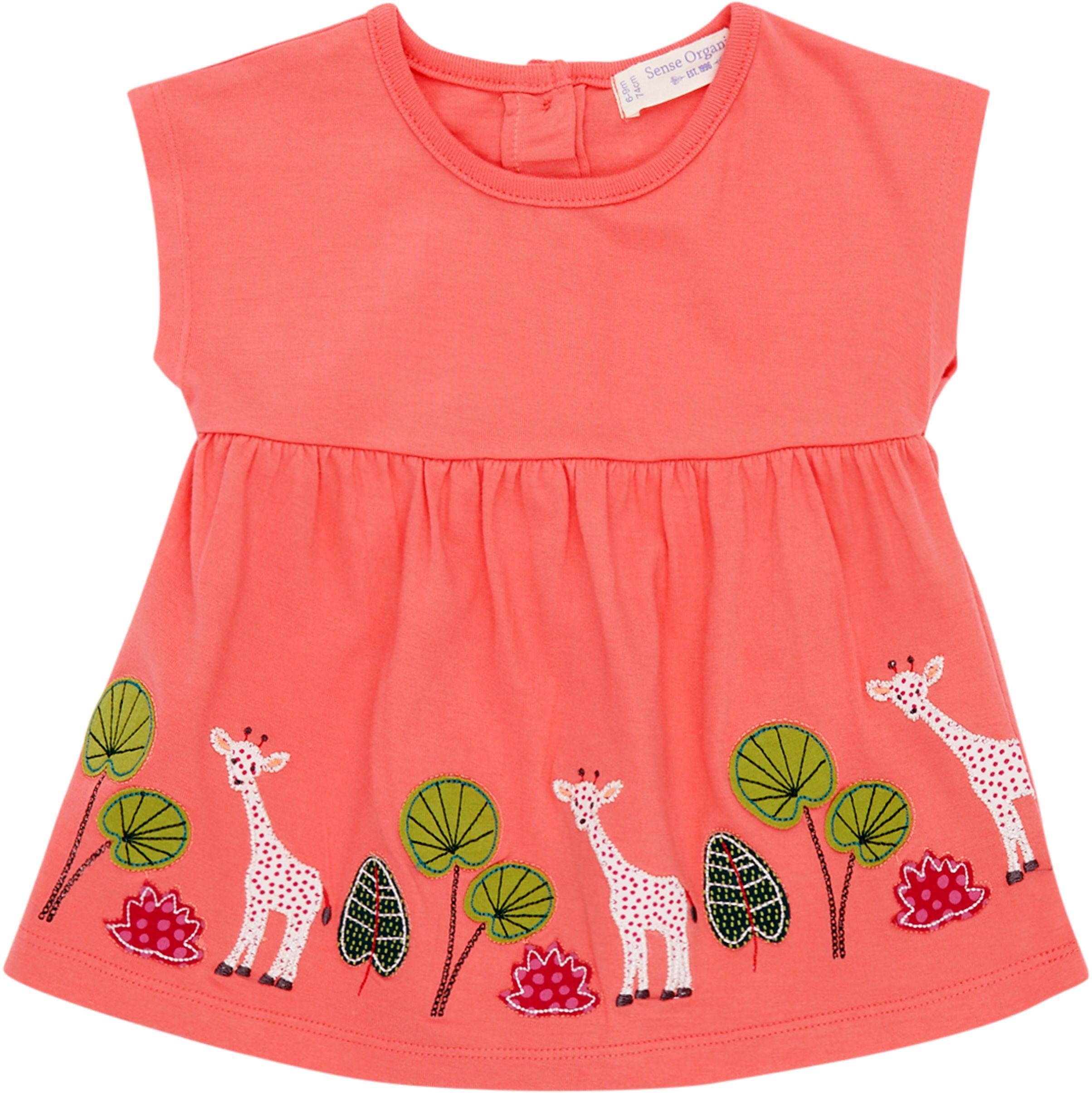Sense Organic AURORA Baby Tunic Kurzarm Rose Giraffe