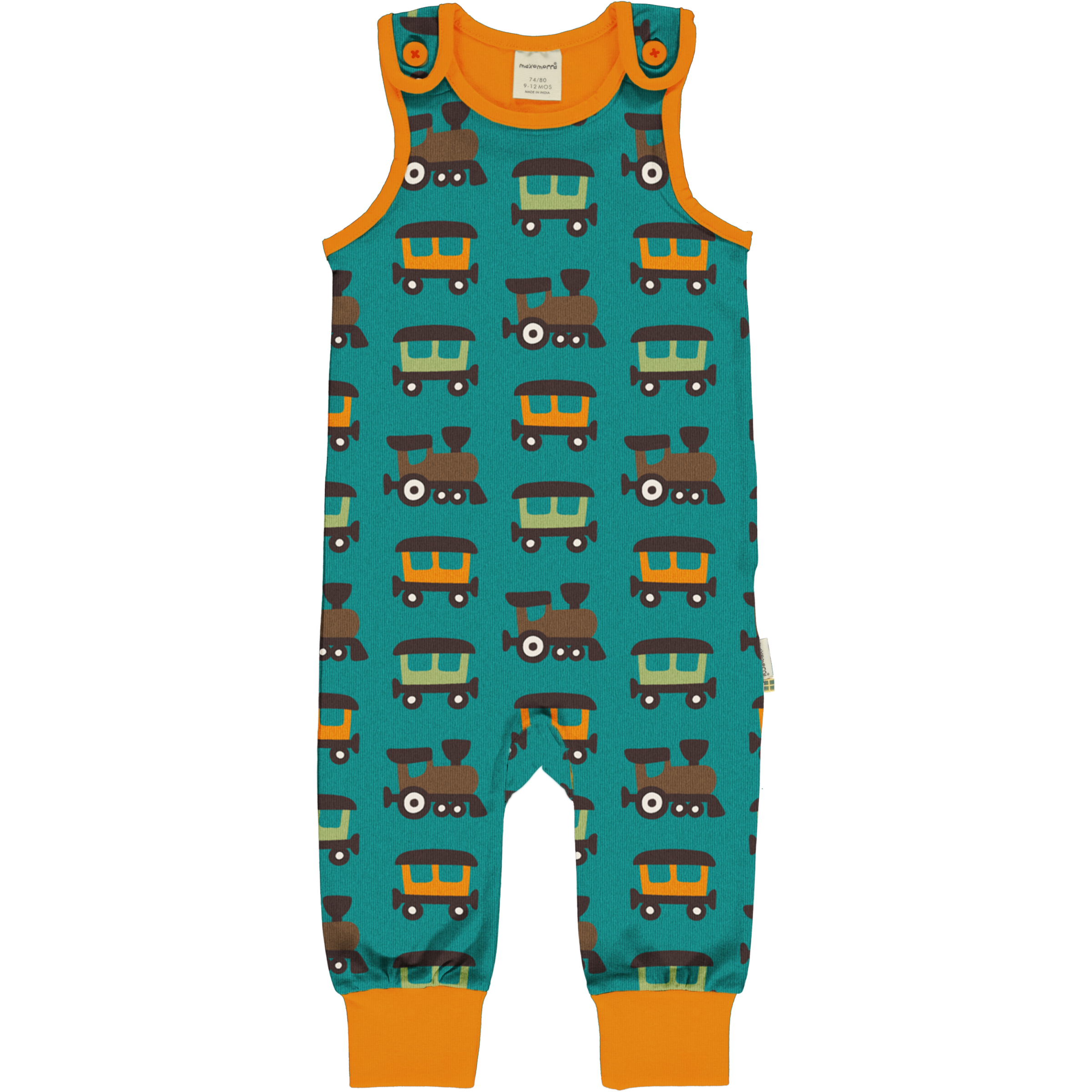 Maxomorra Baby Playsuit TRAIN