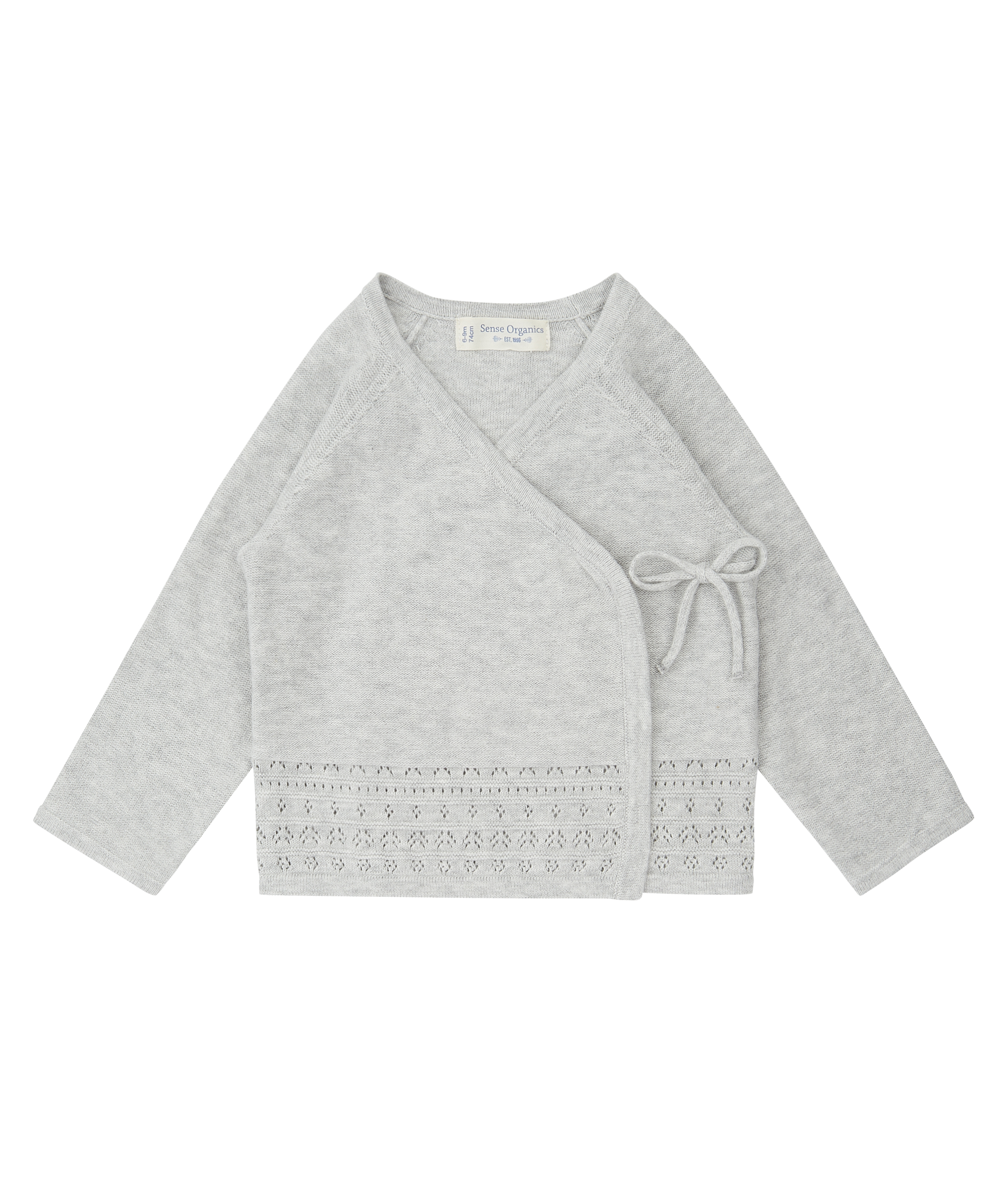 Sense Organic P. PICASSO Knitted Baby Wrap Jacket Light Grey