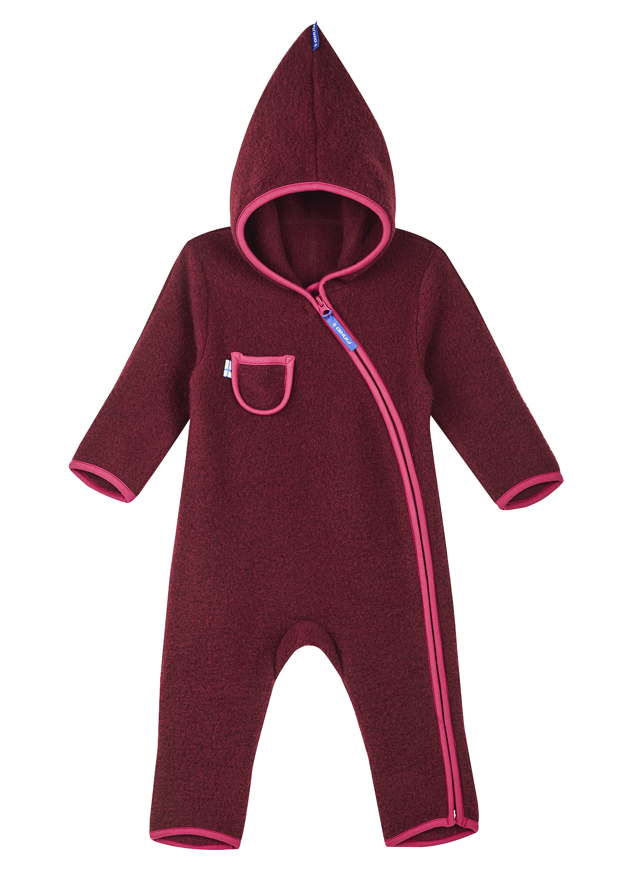 Finkid Baby Overall PUKU WOOL cabernet/persian