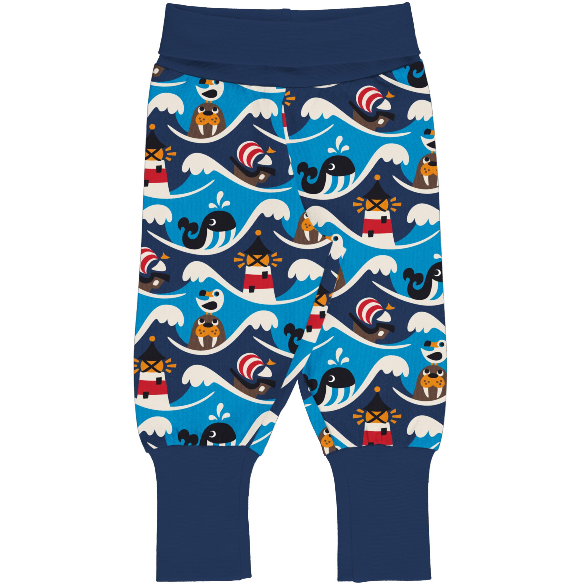 Maxomorra Baby Rib Pants OCEAN 050/056