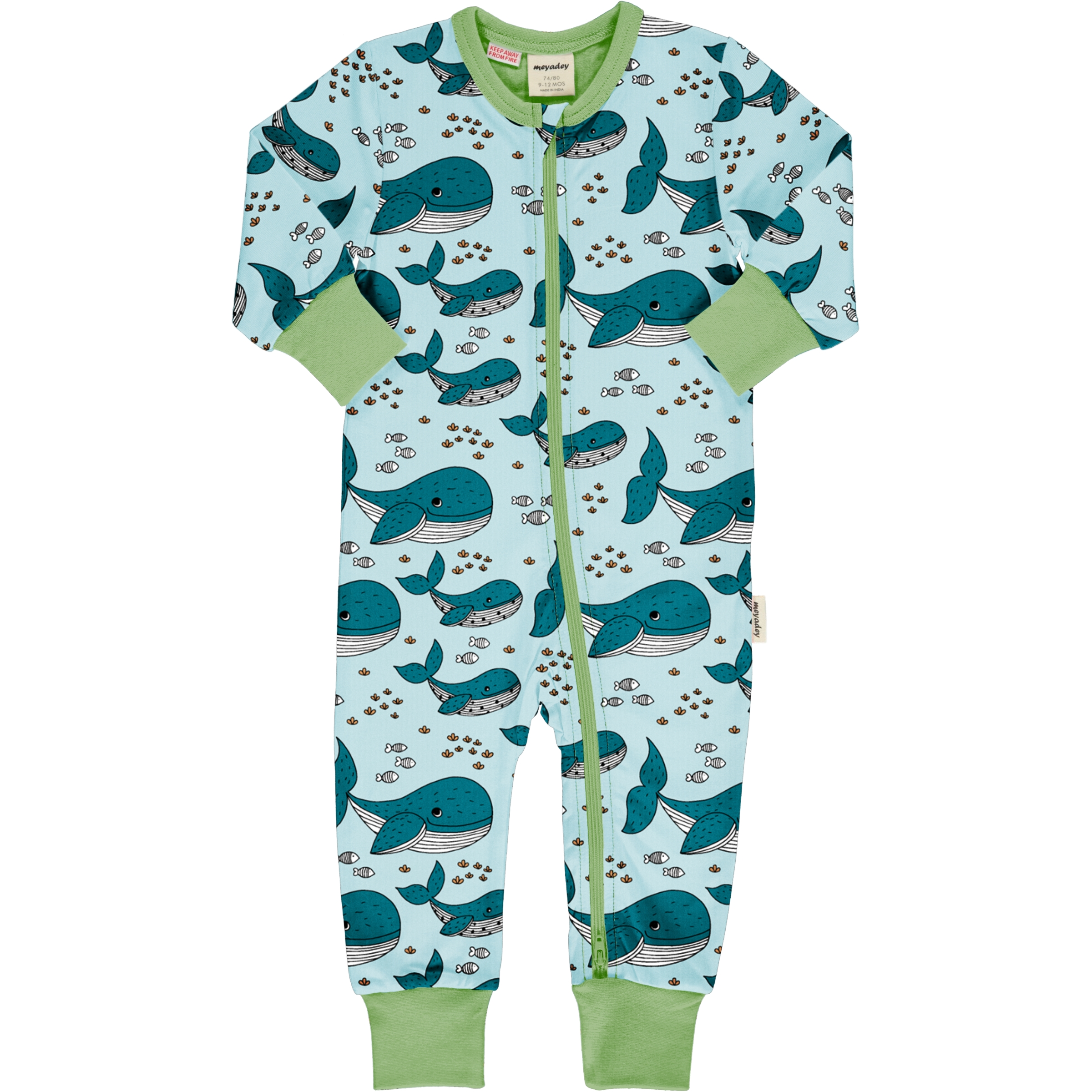 Meyadey by Maxomorra Baby Rompersuit Lang WHALE WATERS 74/80