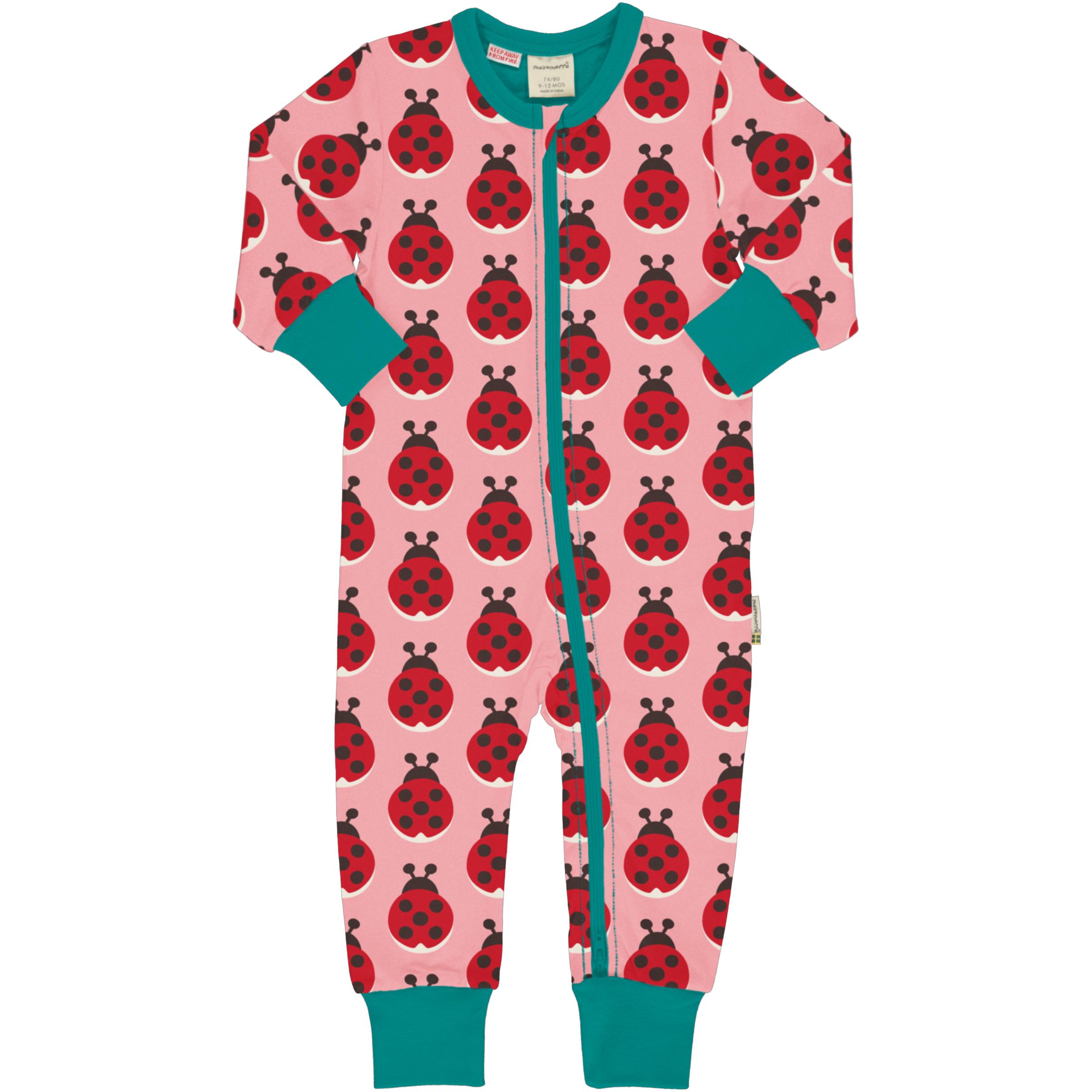 Maxomorra Baby Schlafanzug Einteiler Lang LADYBUG 086/092
