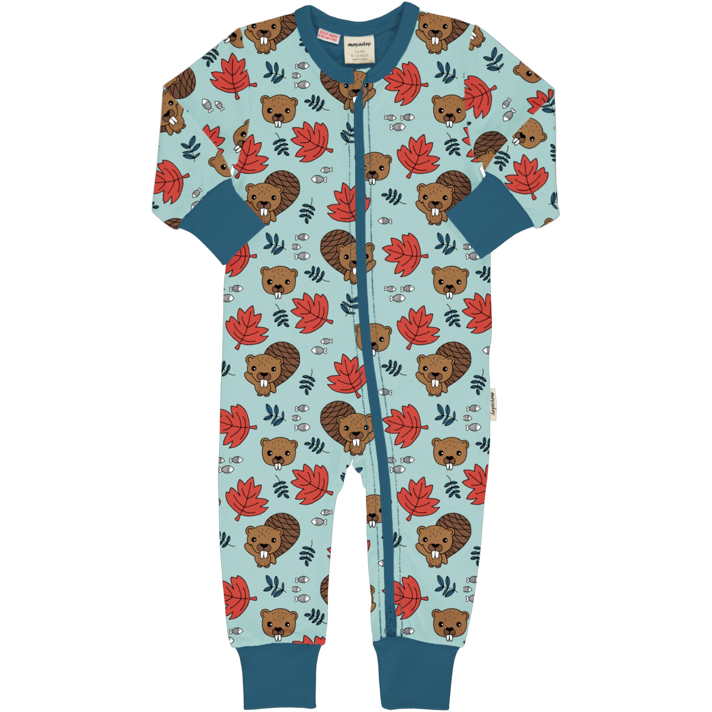 Meyadey by Maxomorra Baby Schlafanzug Einteiler Lang BEAVER FRIENDS 062/068