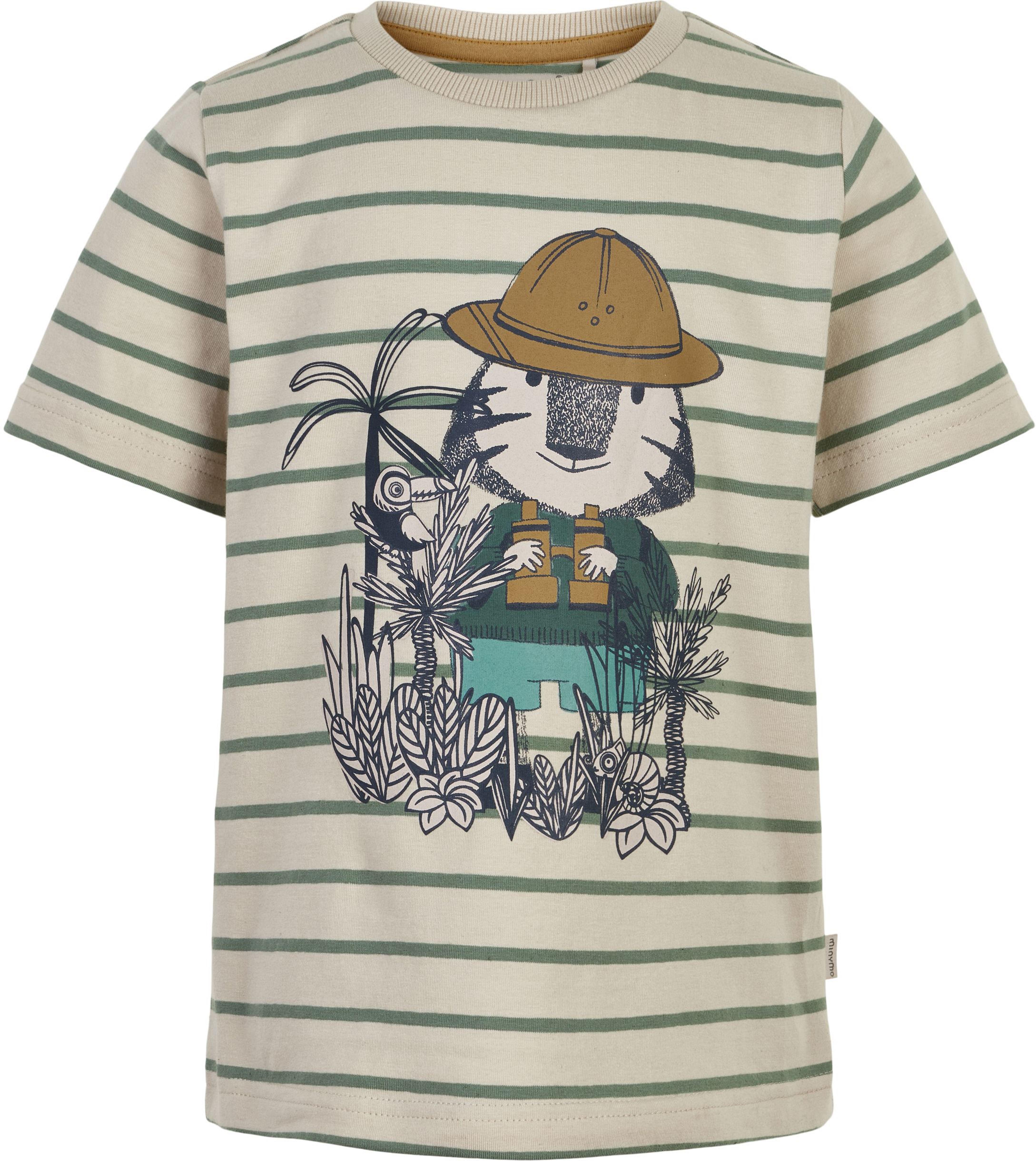 Minymo Boy Kurzarmshirt Stripe Safari fog