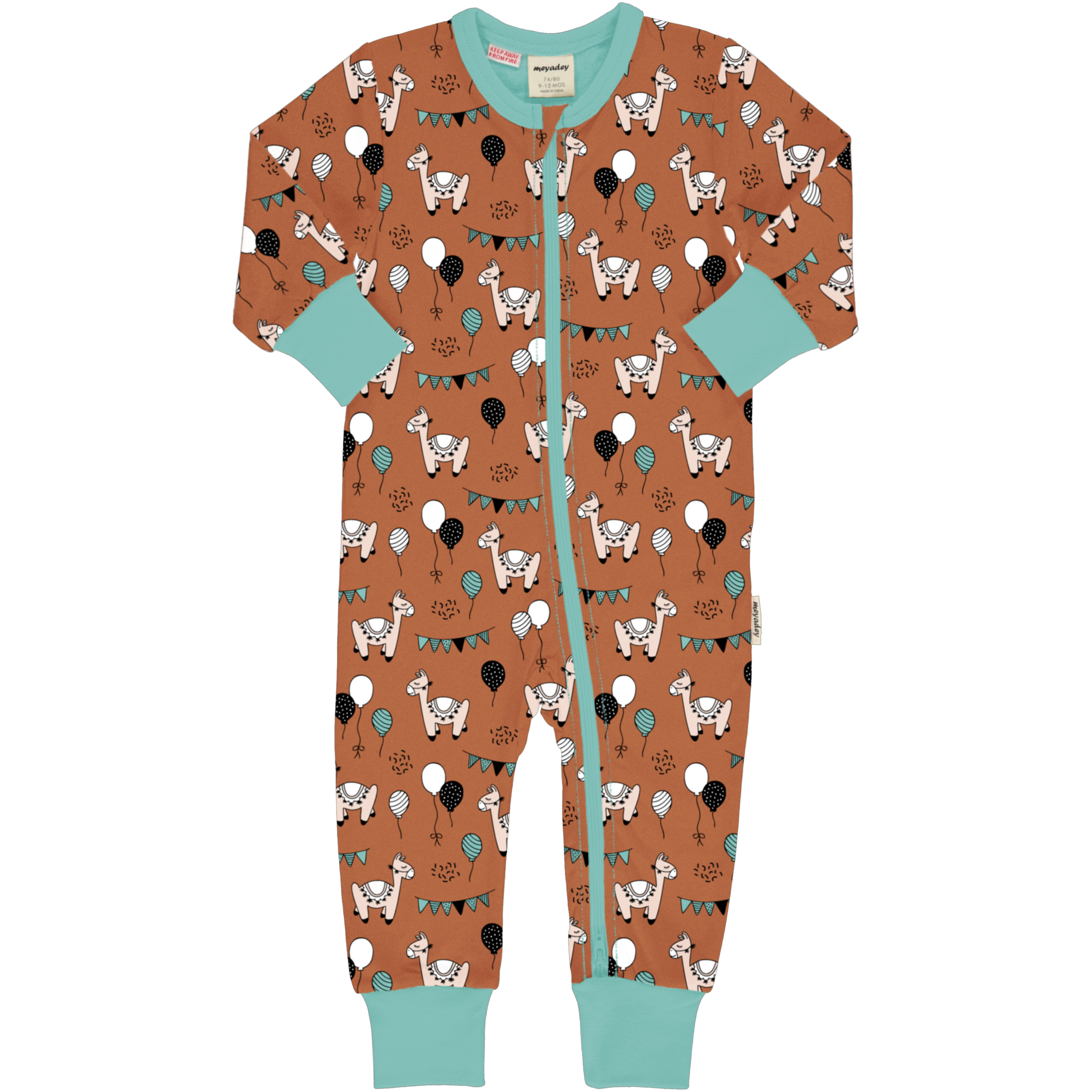 Maxomorra Baby Schlafanzug Einteiler Lang CAMEL PARTY
