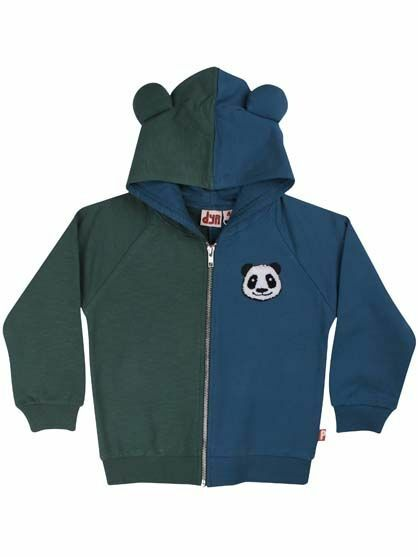 DYR Boy Sweatjacke Panda Zip-Up Grey Duck/Dark Blue