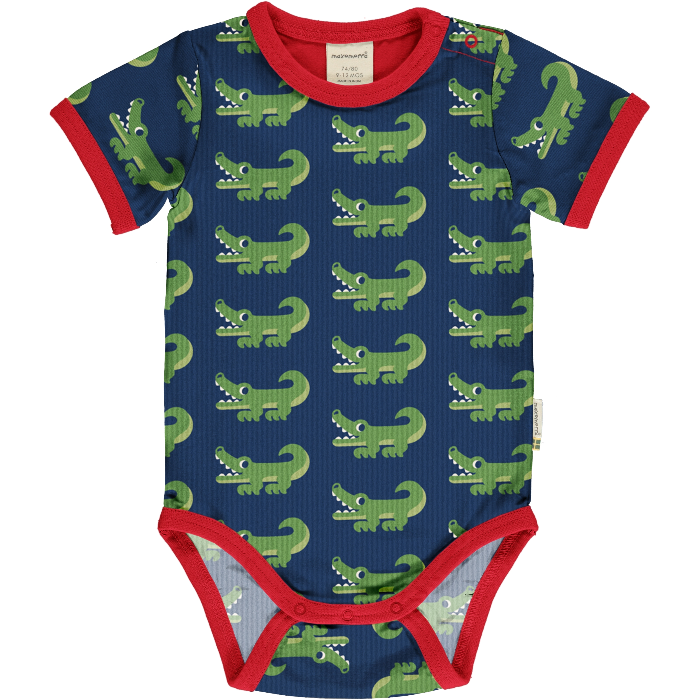 Maxomorra Baby Body kurzarm CROCODILE 50/56