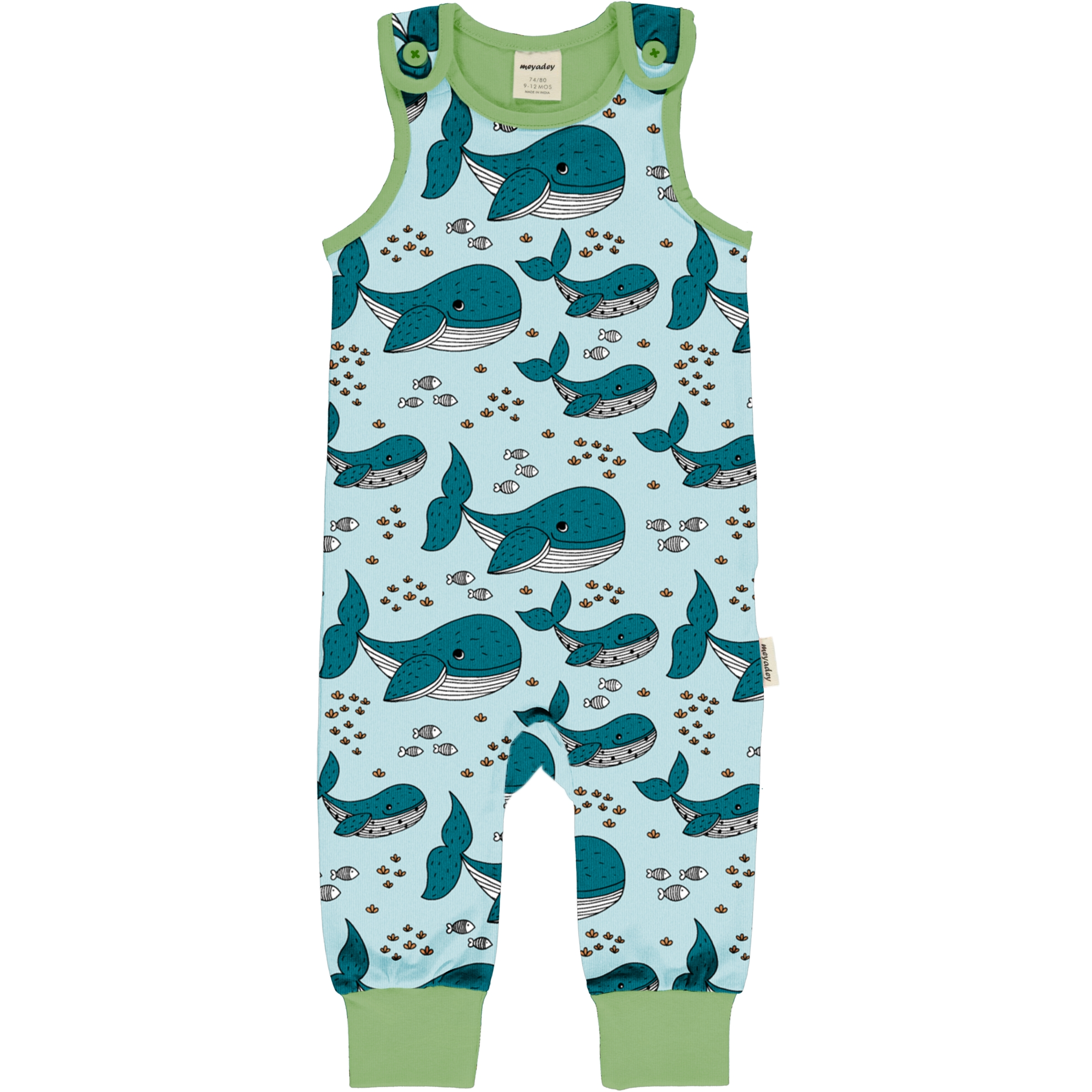 Meyadey by Maxomorra Baby Playsuit WHALE WATERS 86/92