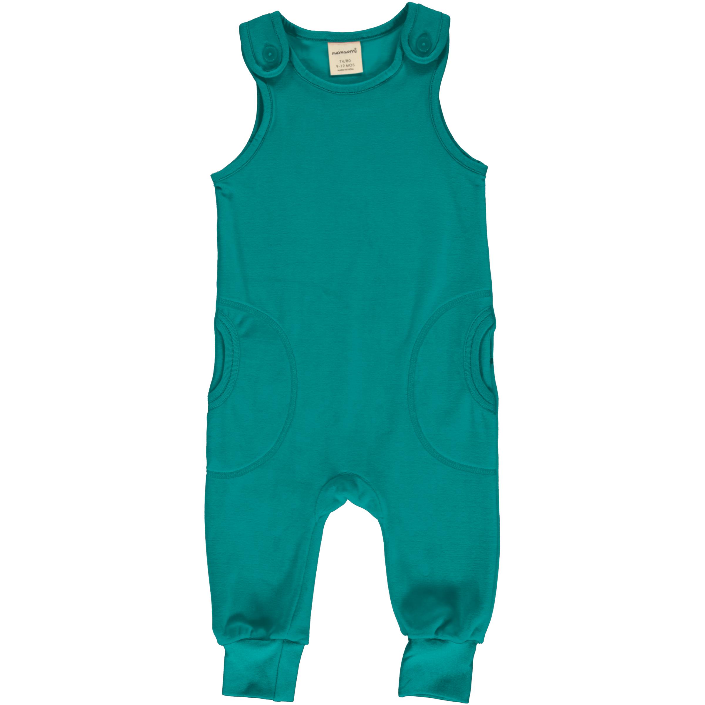 Maxomorra Baby Playsuit Velour LAGOON 086/092