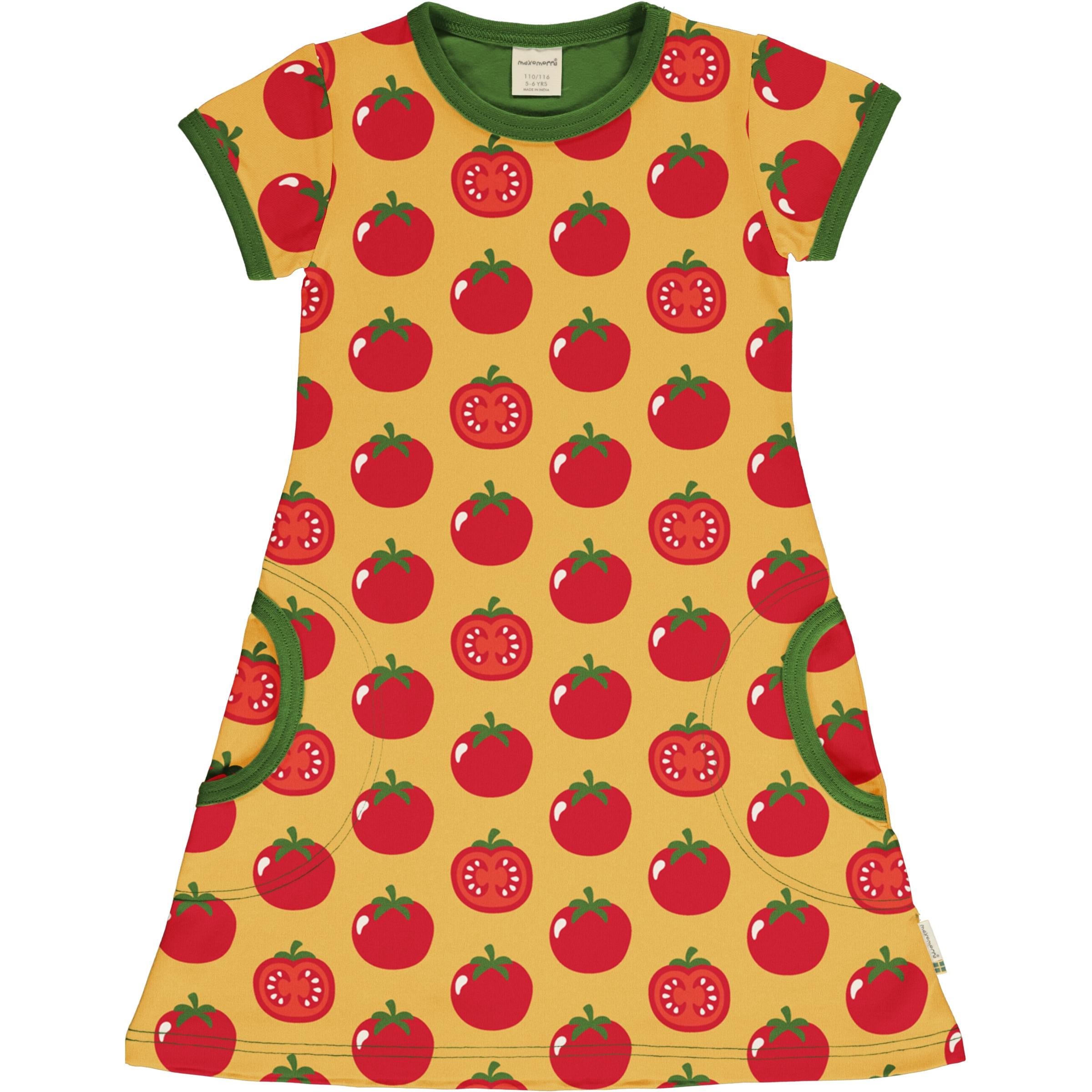 Maxomorra Girl Kleid kurzarm TOMATO 122/128